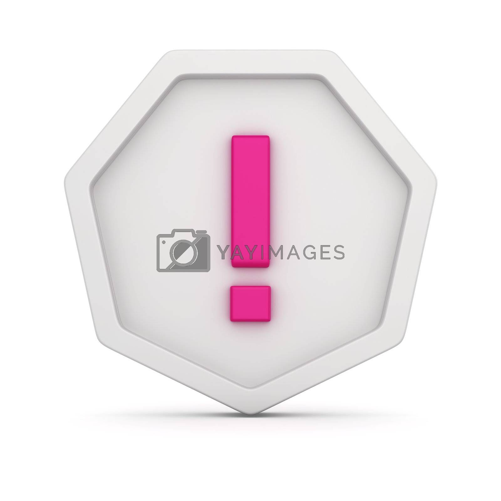 Warning badge with exclamation mark on it