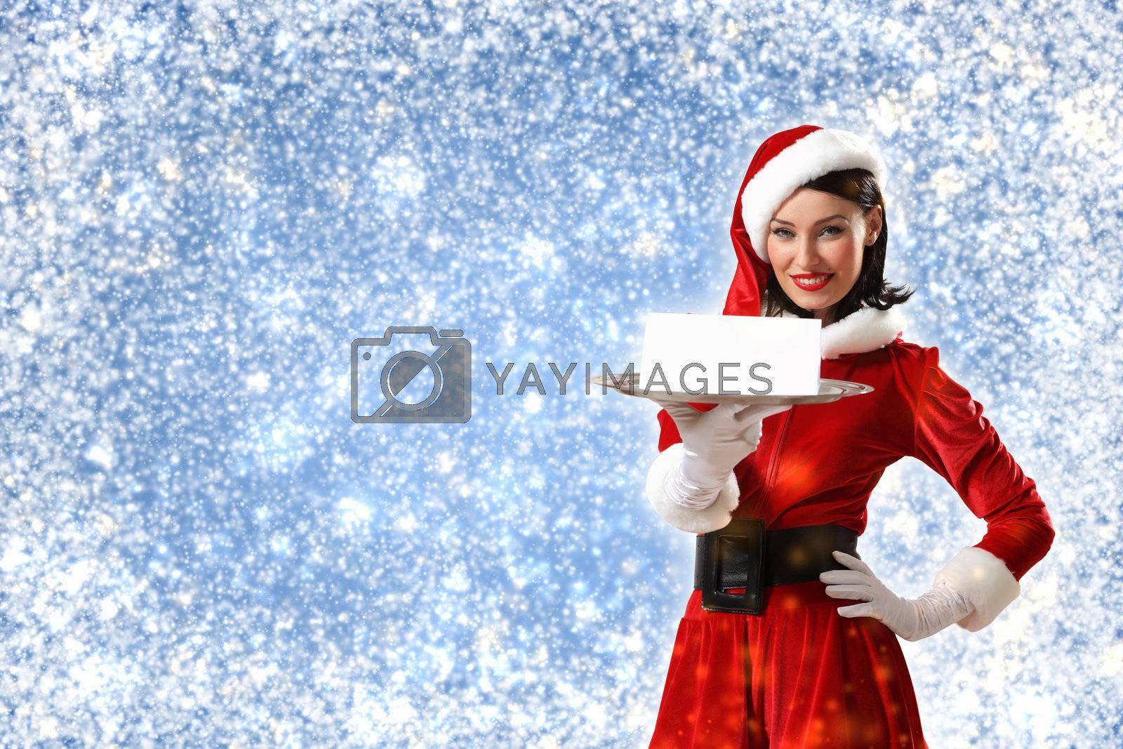 santa girl with a blank banner by Sergey Nivens