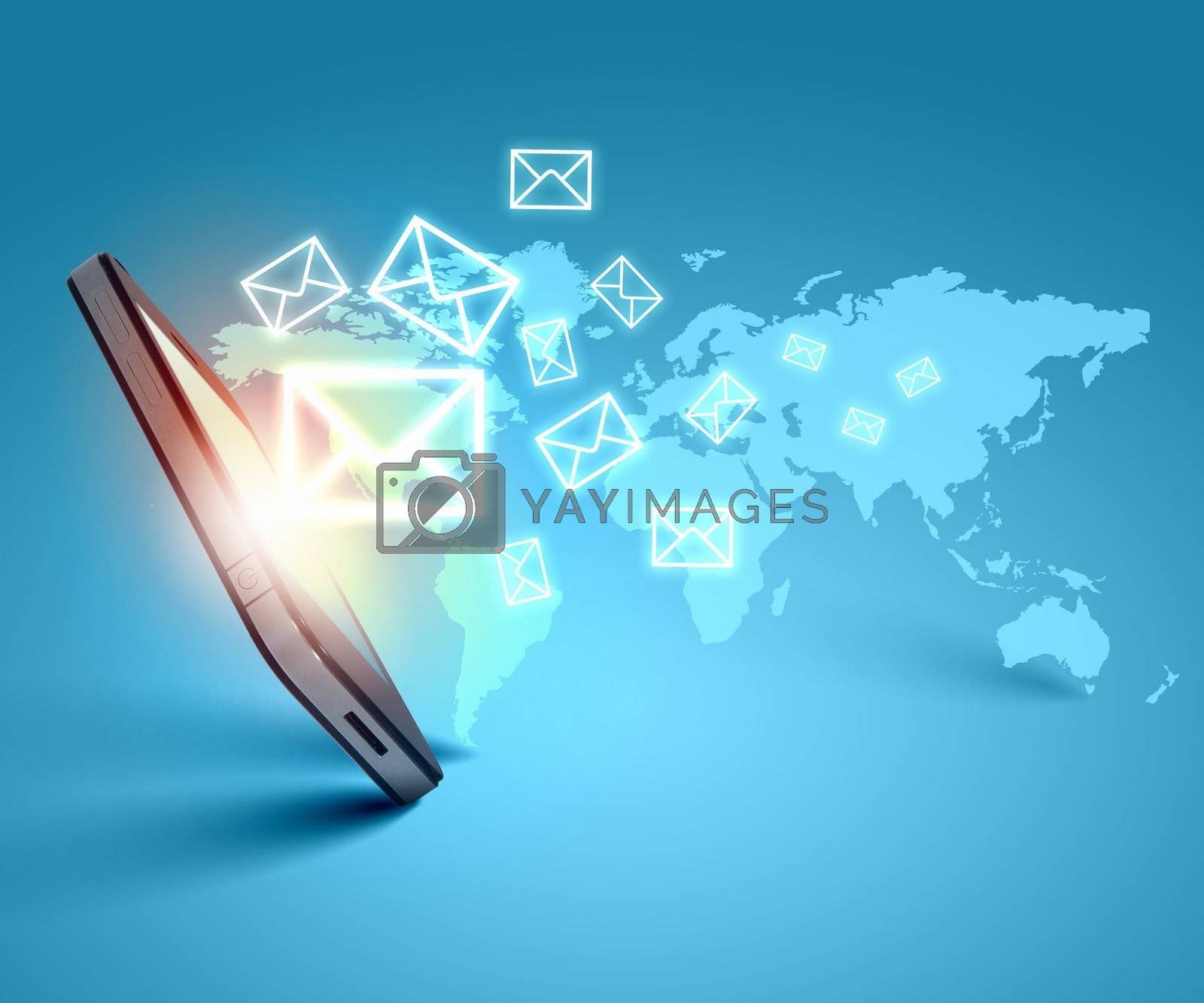 Modern communication technology illustration with messages and devices