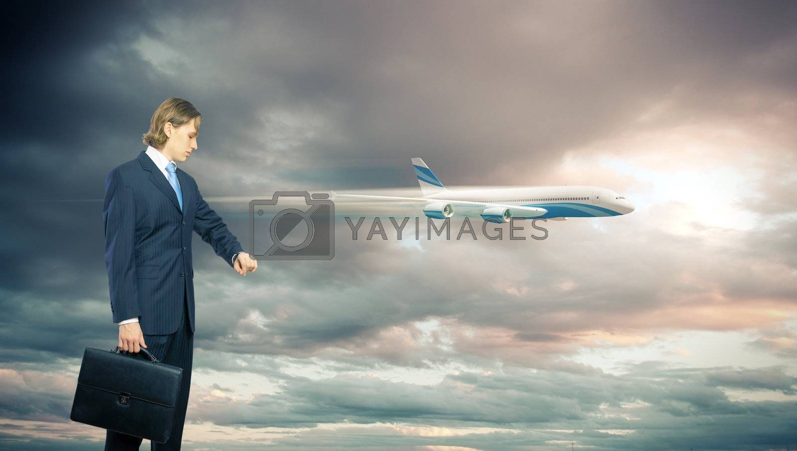 Business travelling collage with a plane by Sergey Nivens
