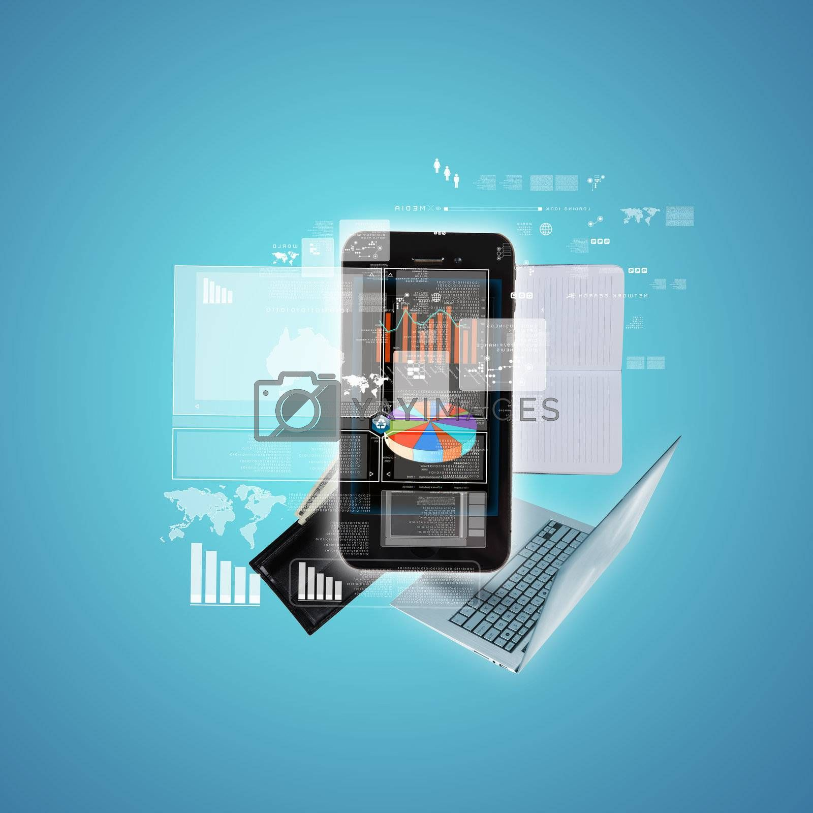 Modern technology illustration with computer and mobile phone