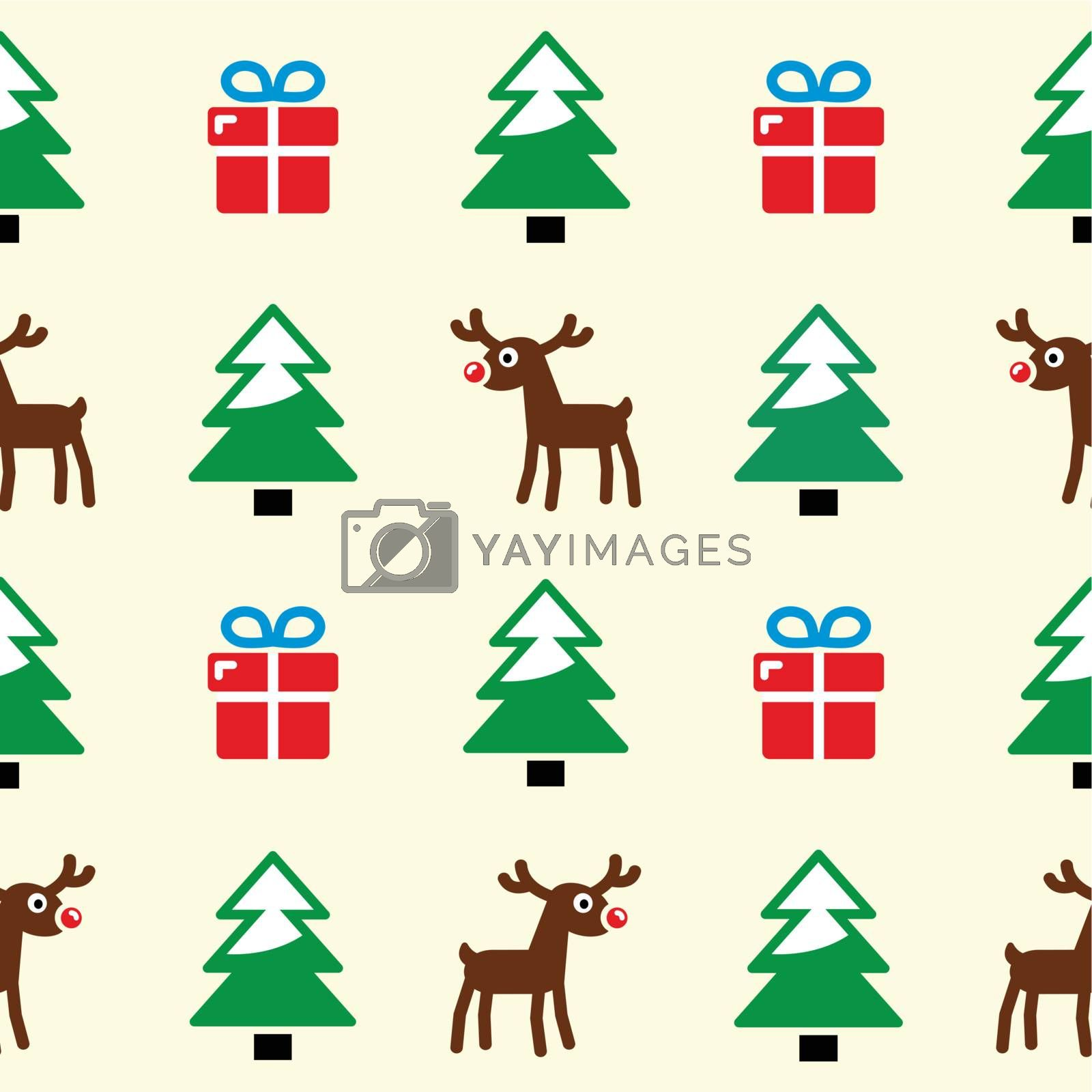 Xmas, winter pattern with presents, reindeer and christmas trees