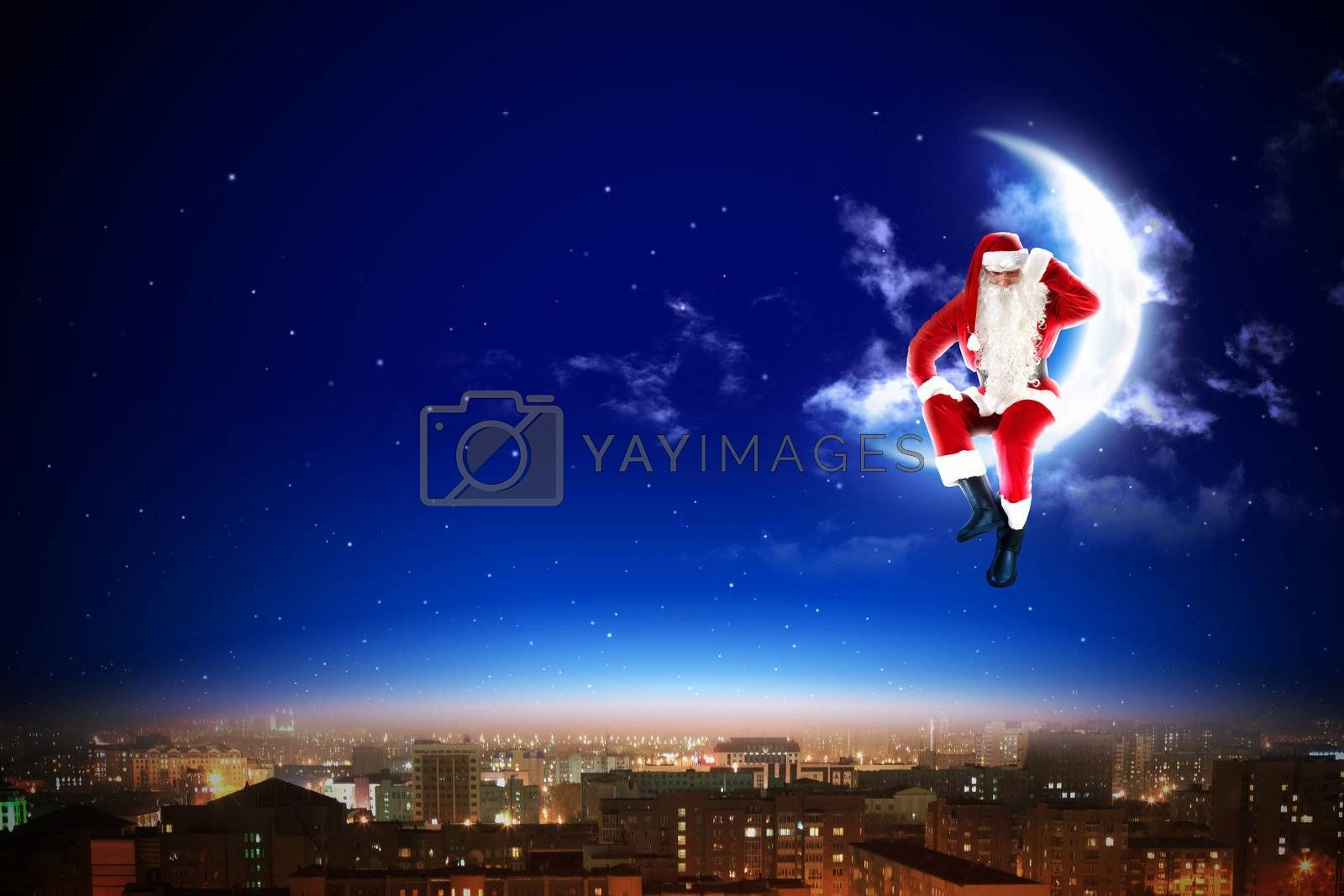 Santa on the moon by Sergey Nivens