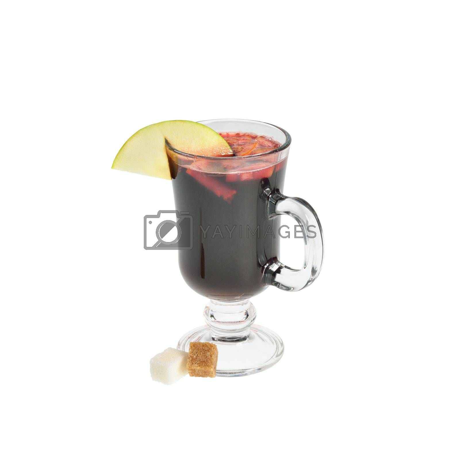 Mulled wine in a transparent cup. Isolated on white.