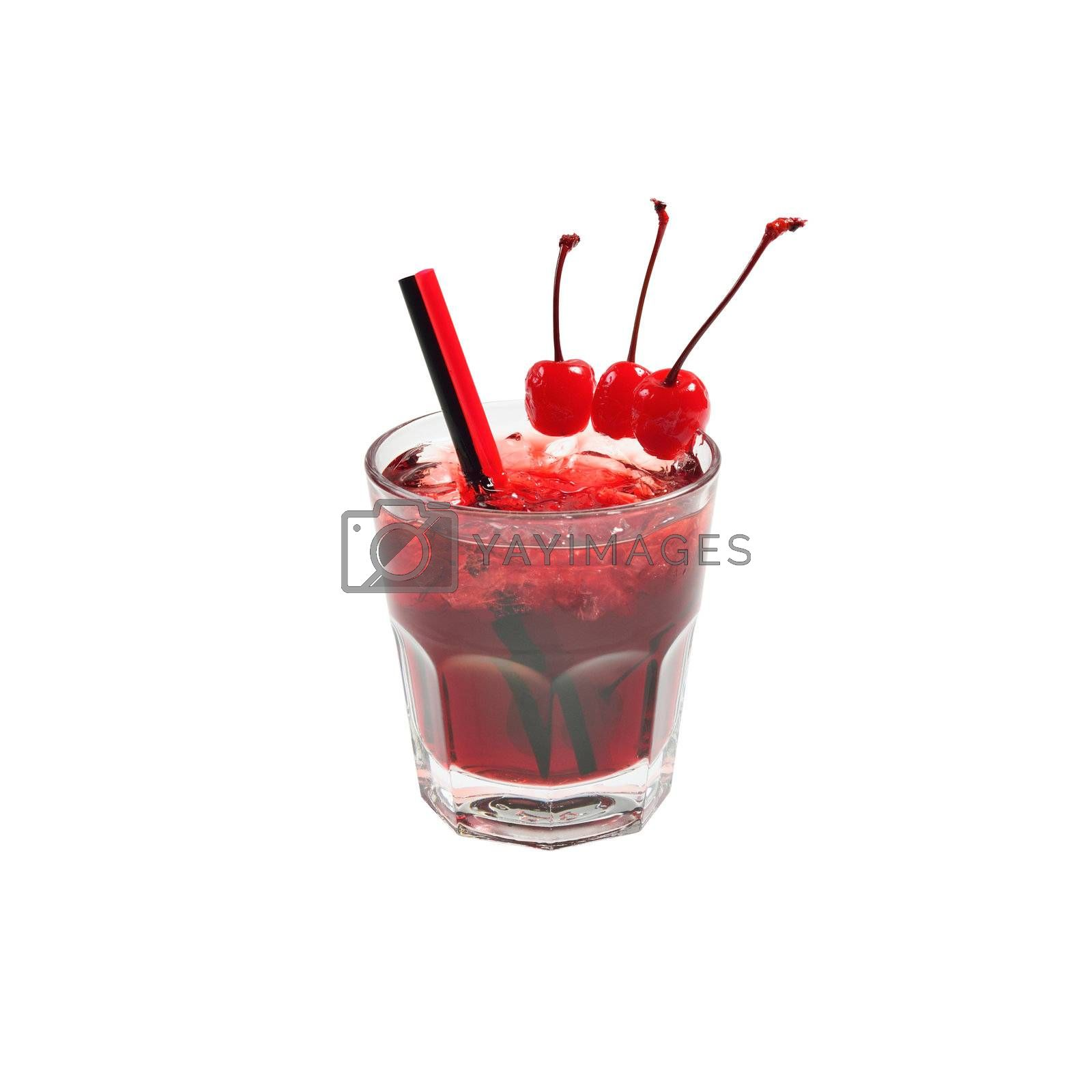 Red cocktail Manhattan with ice and cherry decoration. Isolated on white.