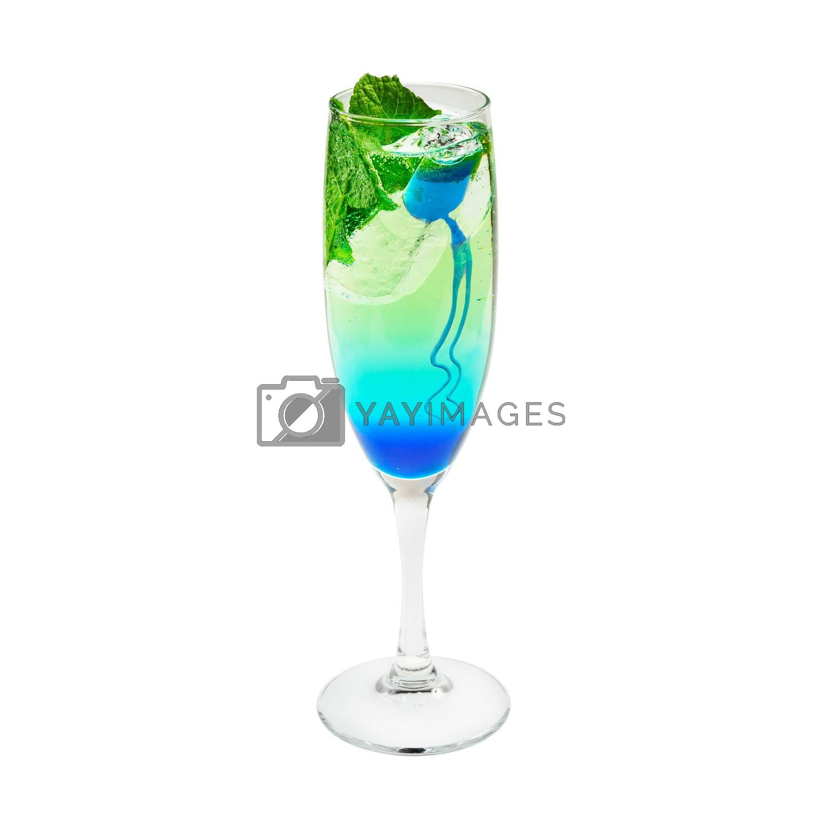 Layered cocktail blue and green. Isolated on white.