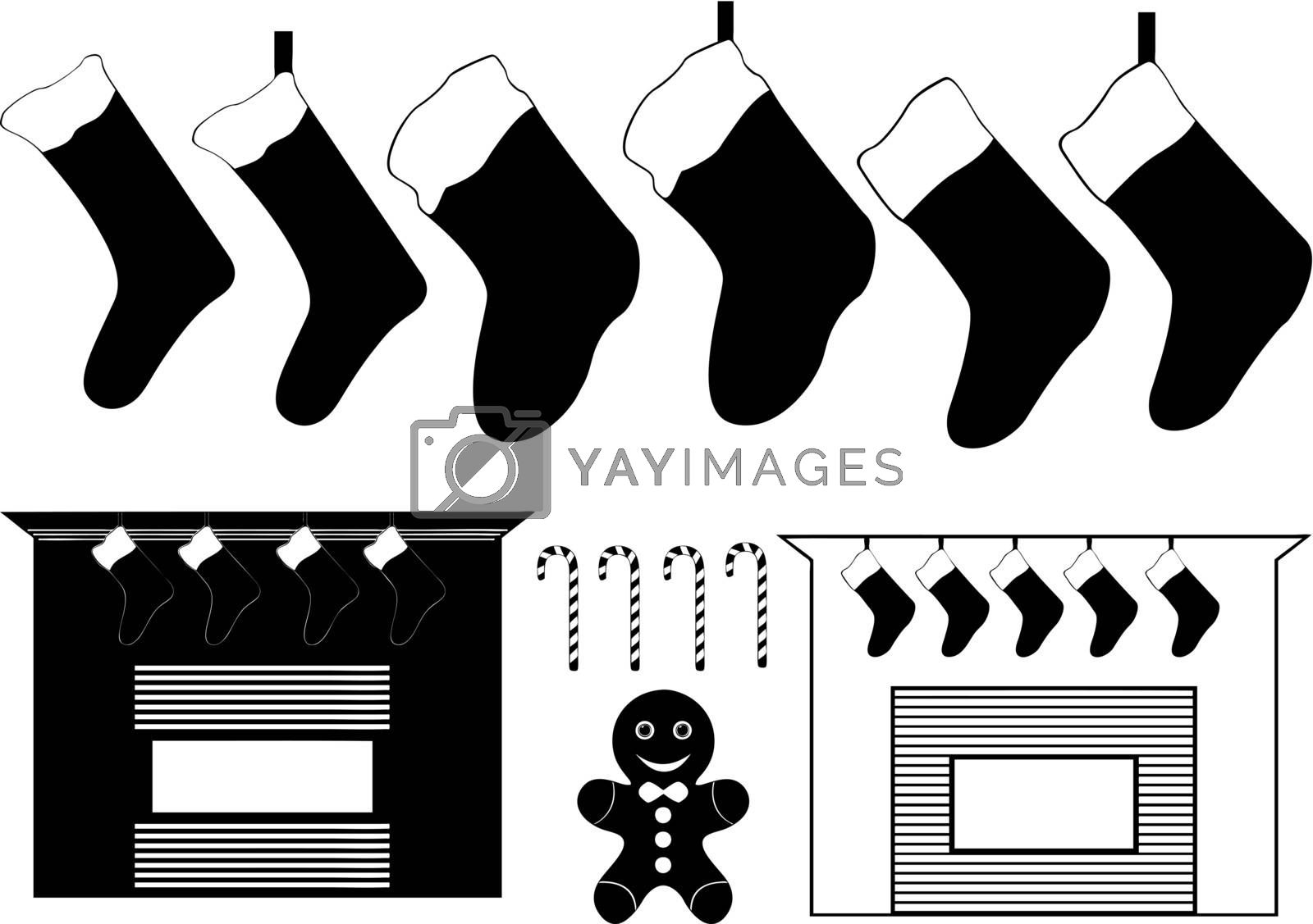 collection of christmas things on white background