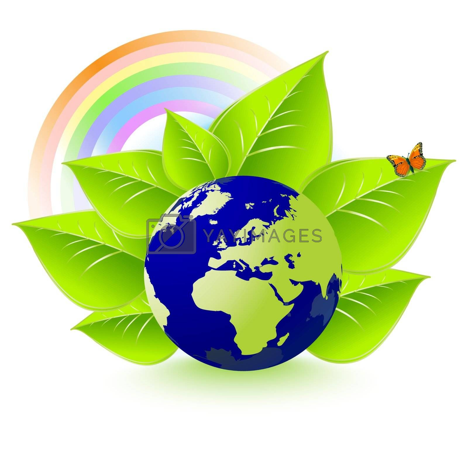 Eco Earth, leaves, rainbows, butterflies and environment
