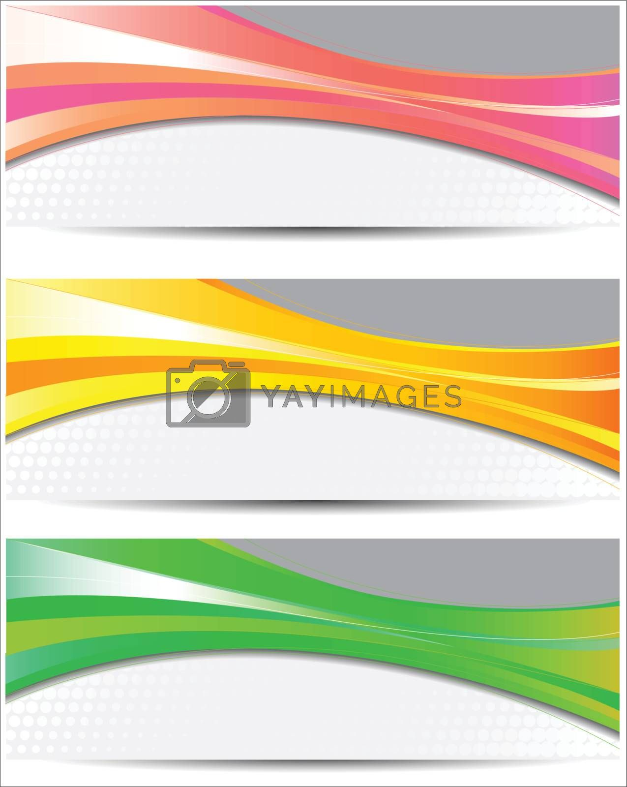Set of colorful banners with copy space
