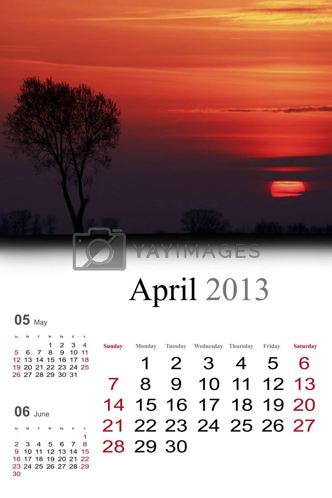 2013 Calendar.April