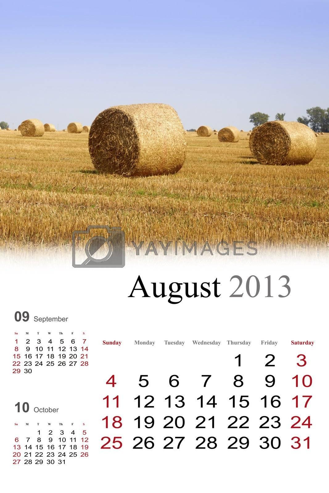 2013 Calendar.August by Nikonas
