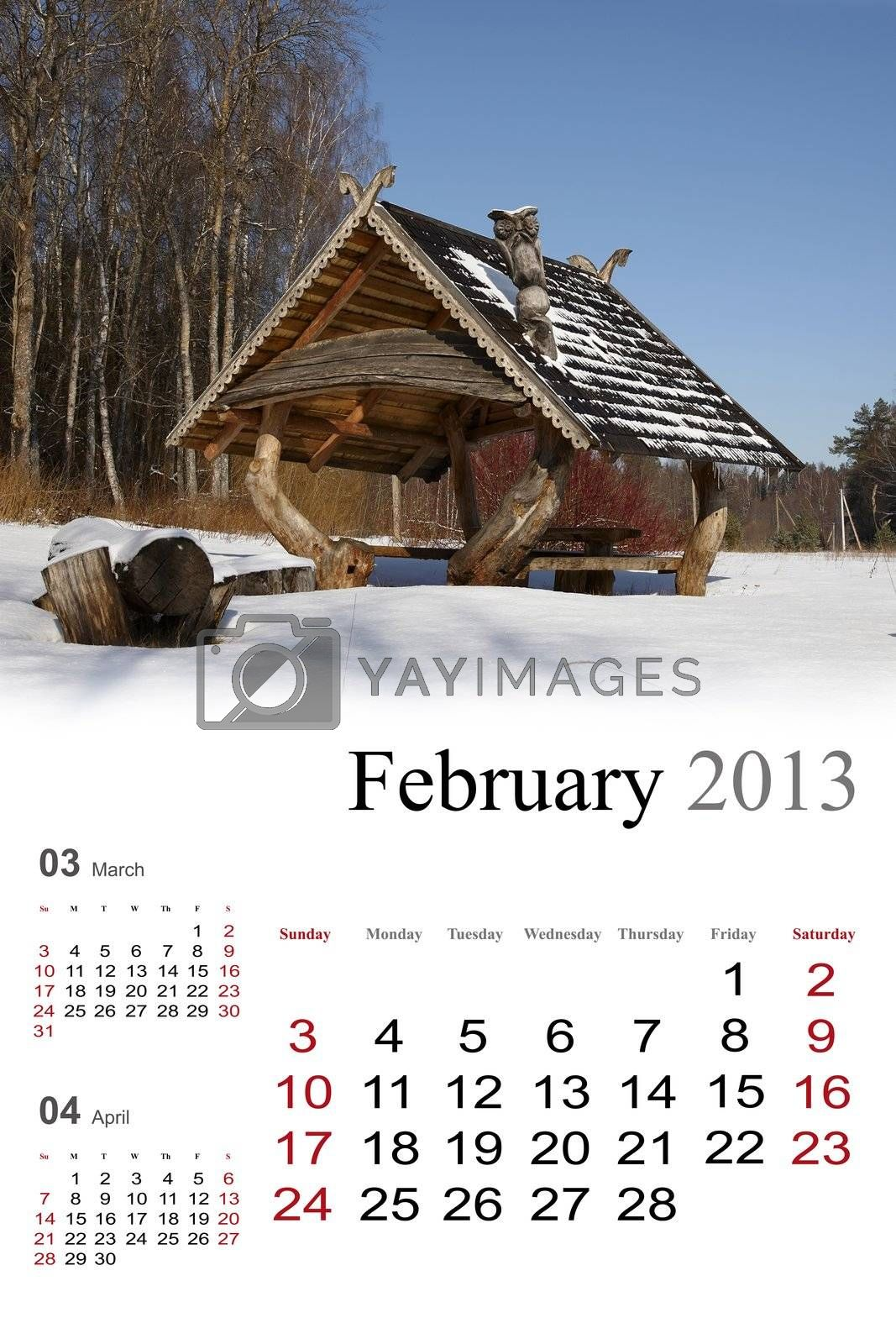 2013 Calendar. February by Nikonas