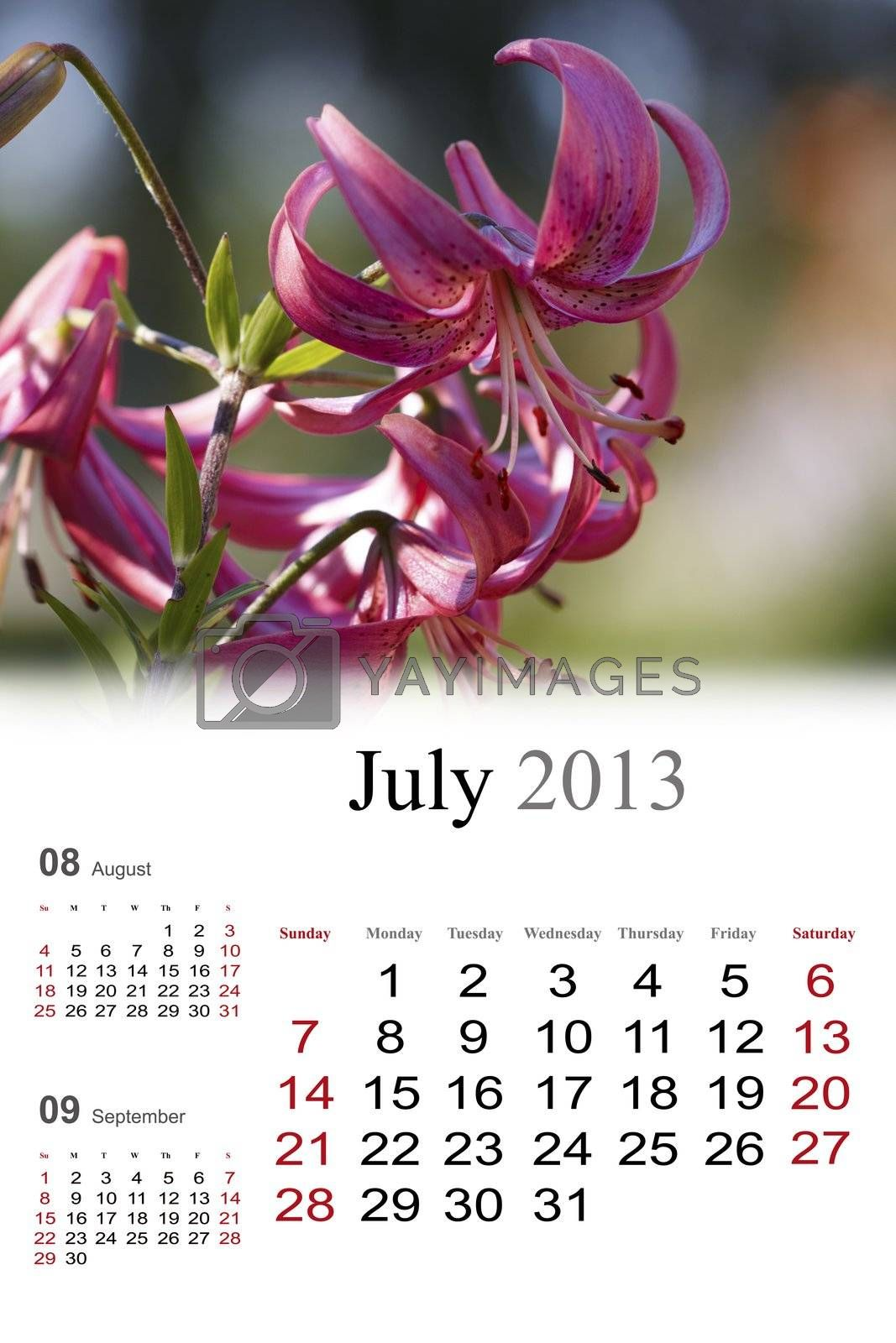 2013 Calendar. July by Nikonas