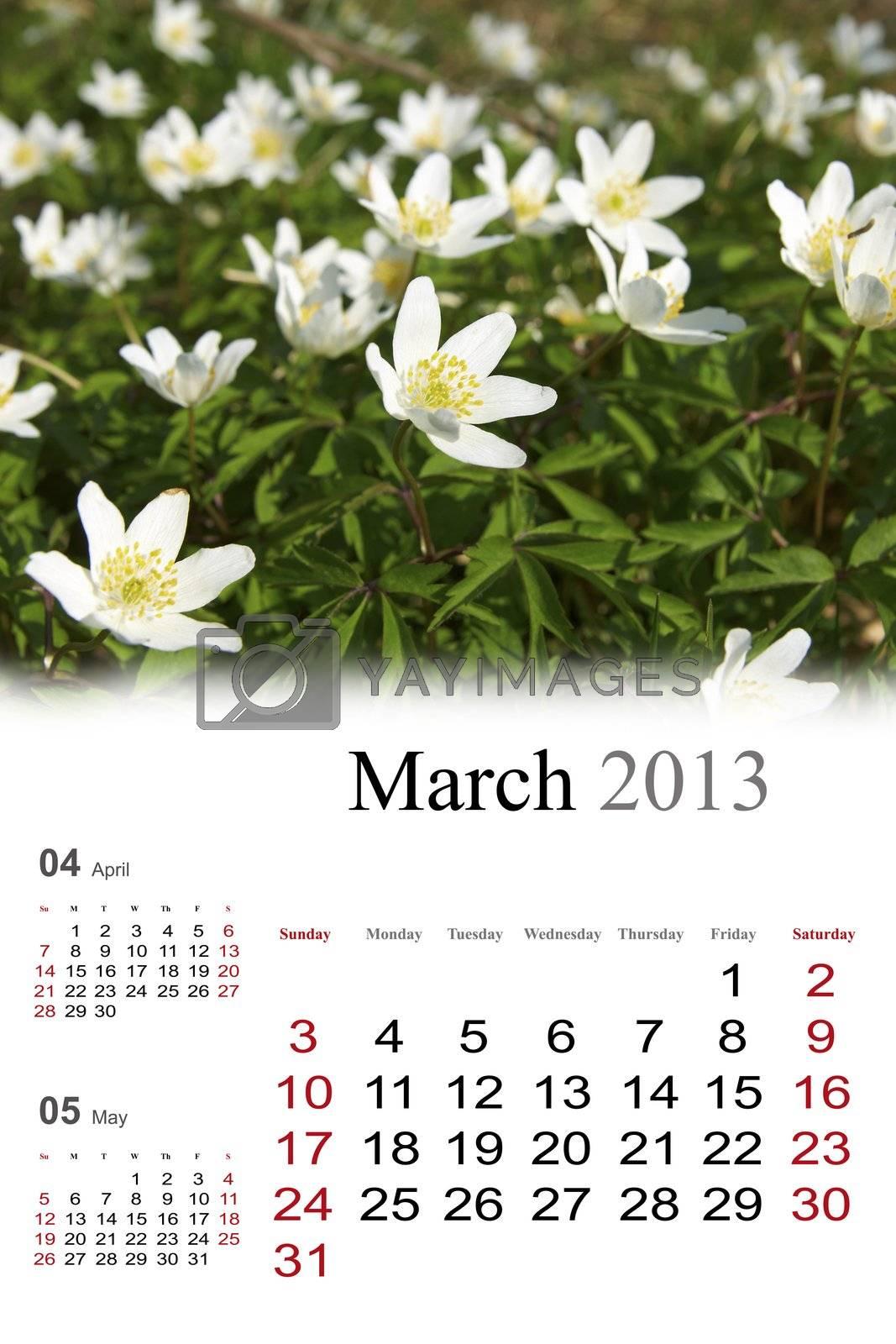 2013 Calendar. March.