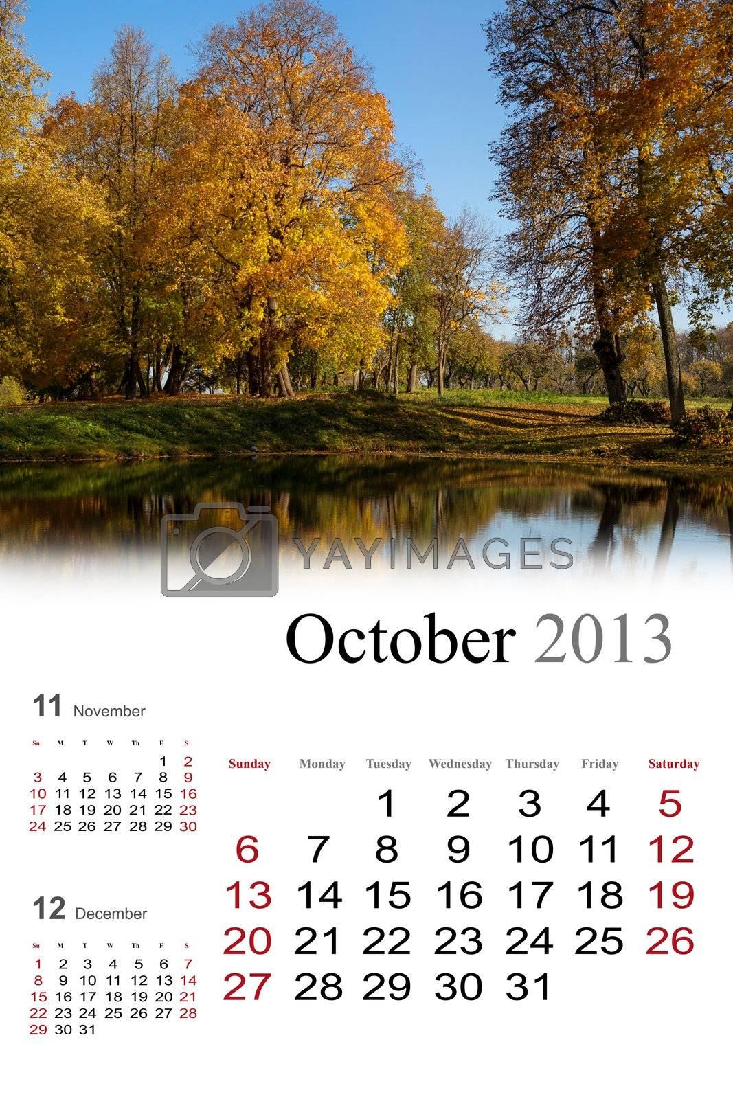 2013 Calendar. October. Golden autumn colors