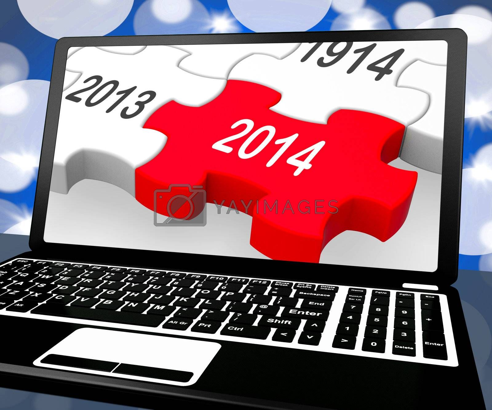 2014 On Laptop Shows Near Future Technology And Forecasts