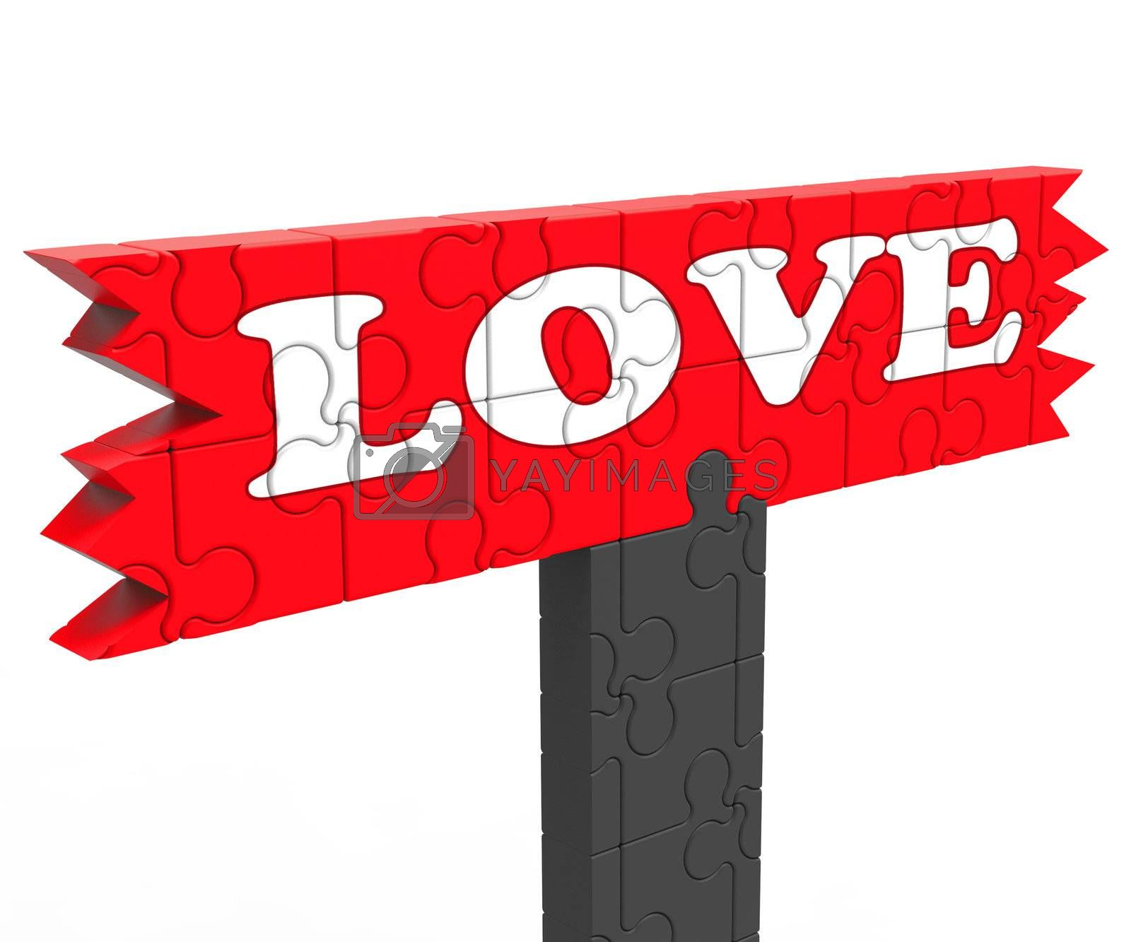 Love Word Showing Heart Romance For Valentines
