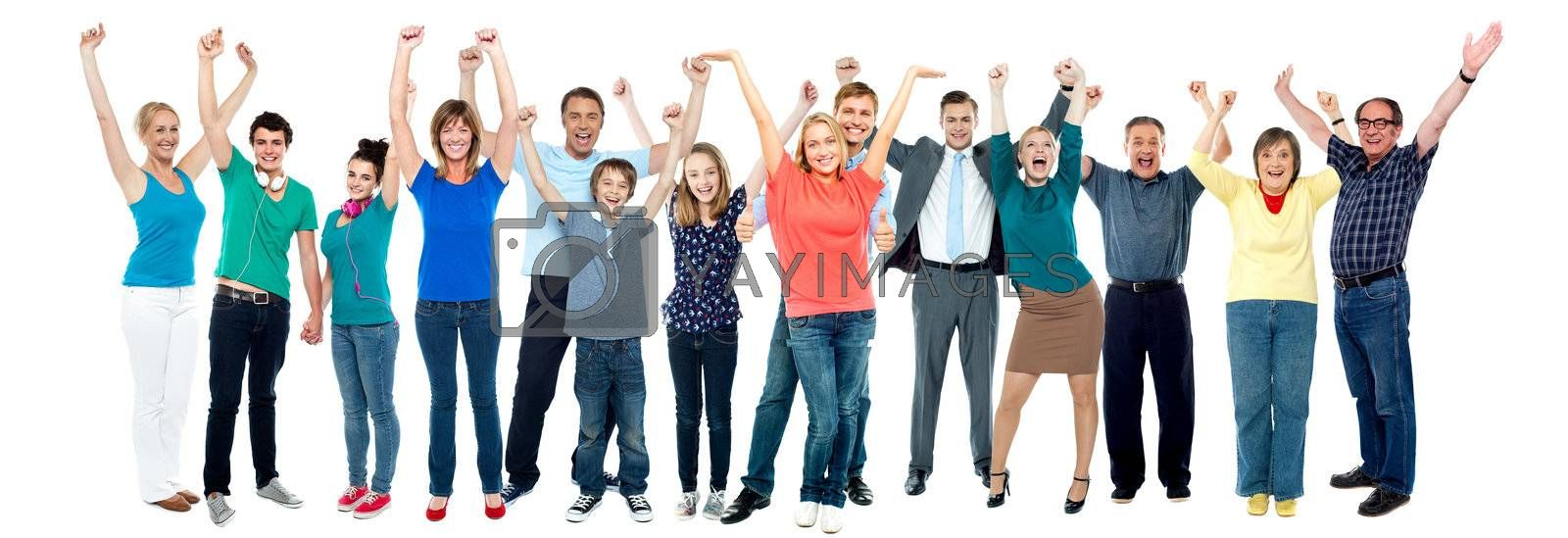 All family members posing cheerfully with raised arms, collage concept.