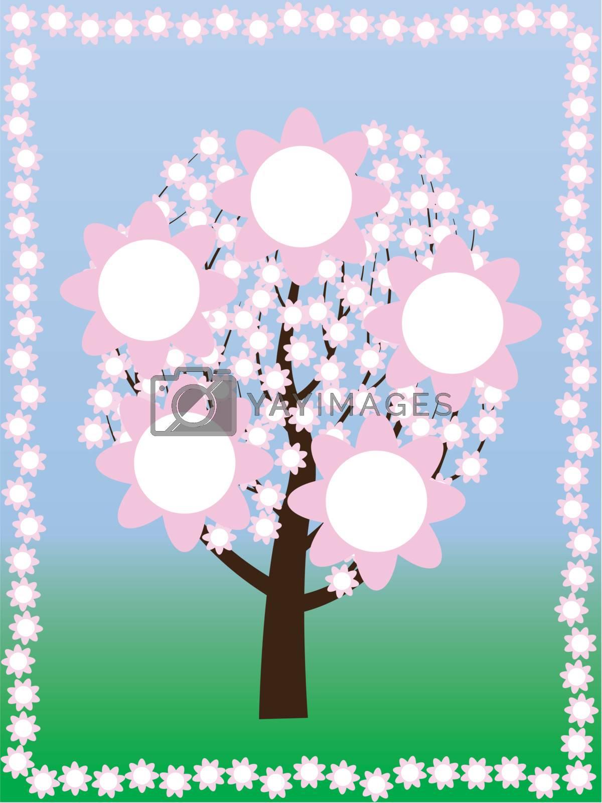 blossoming tree at spring vector illustration