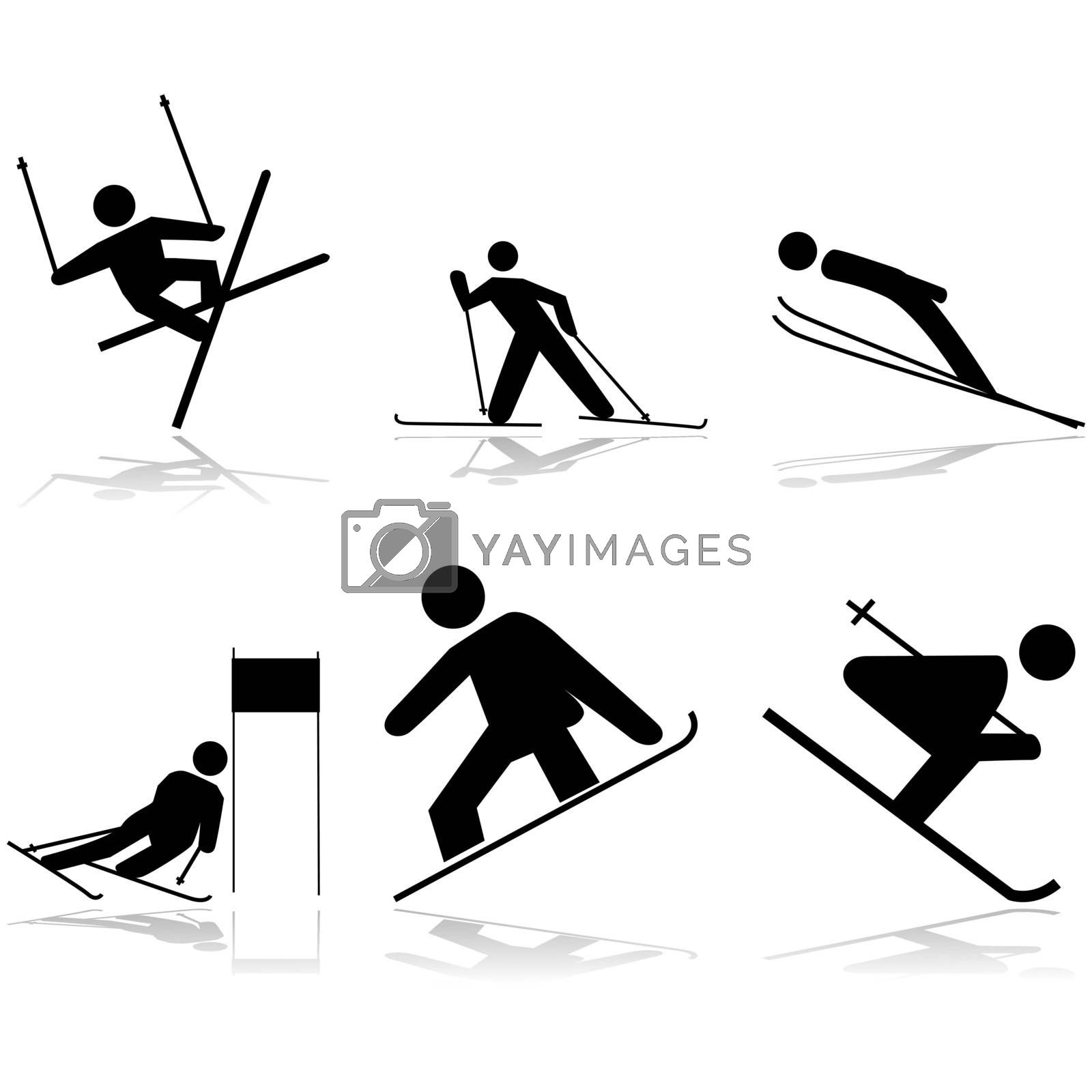 Icon illustrations showing different winter sports performed on snow surfaces
