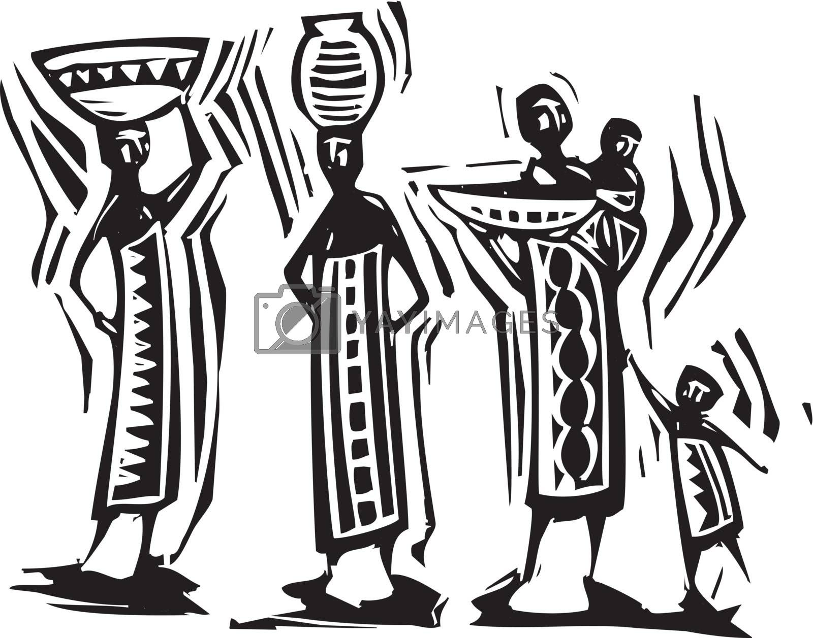 Traditional African textile design with women carrying baskets.