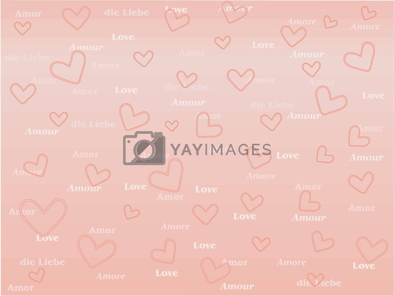 pink background with valentines and word Love in several languages