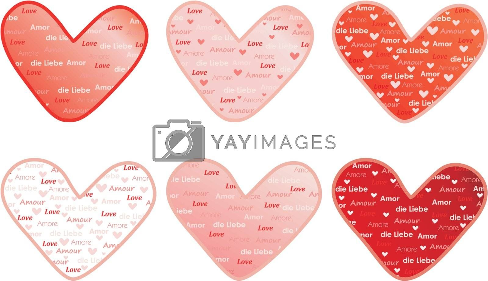 valentines with word Love in several languages
