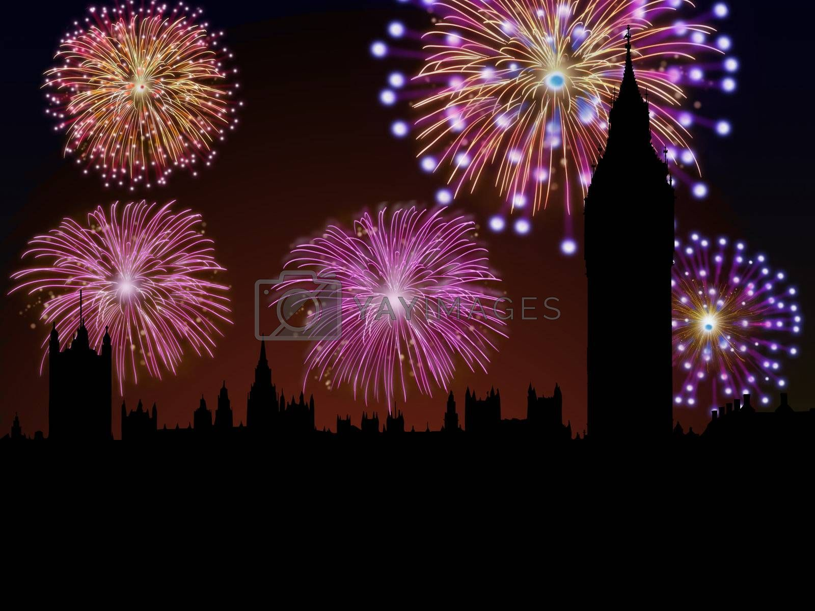 Fireworks happy New year London city Big Ben and House of Parliament scene.