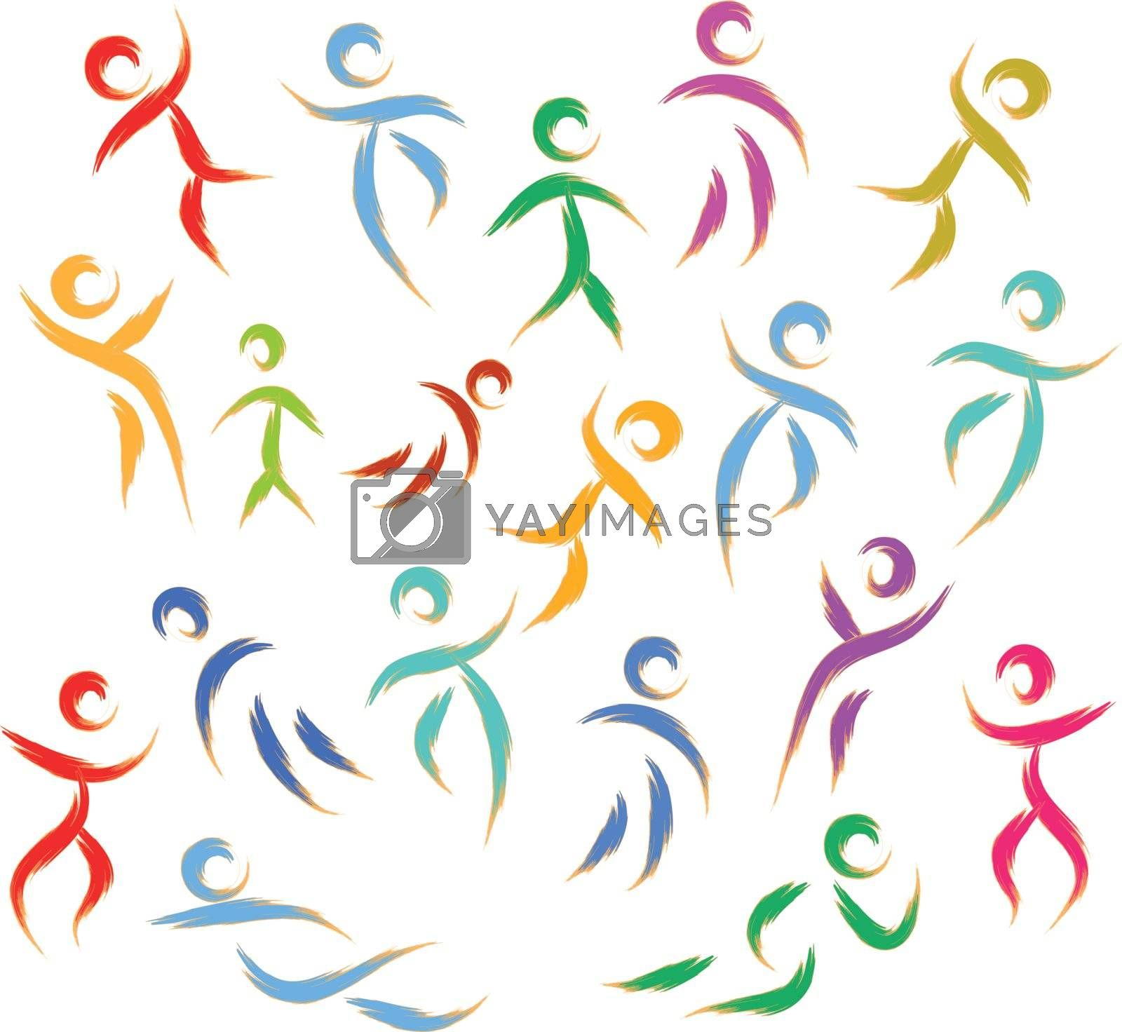 vector stylized people texture abstract illustration