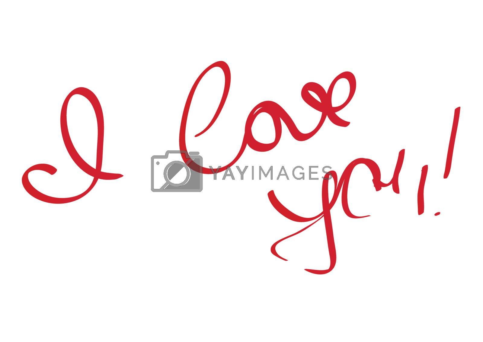 I Love You handwriting message