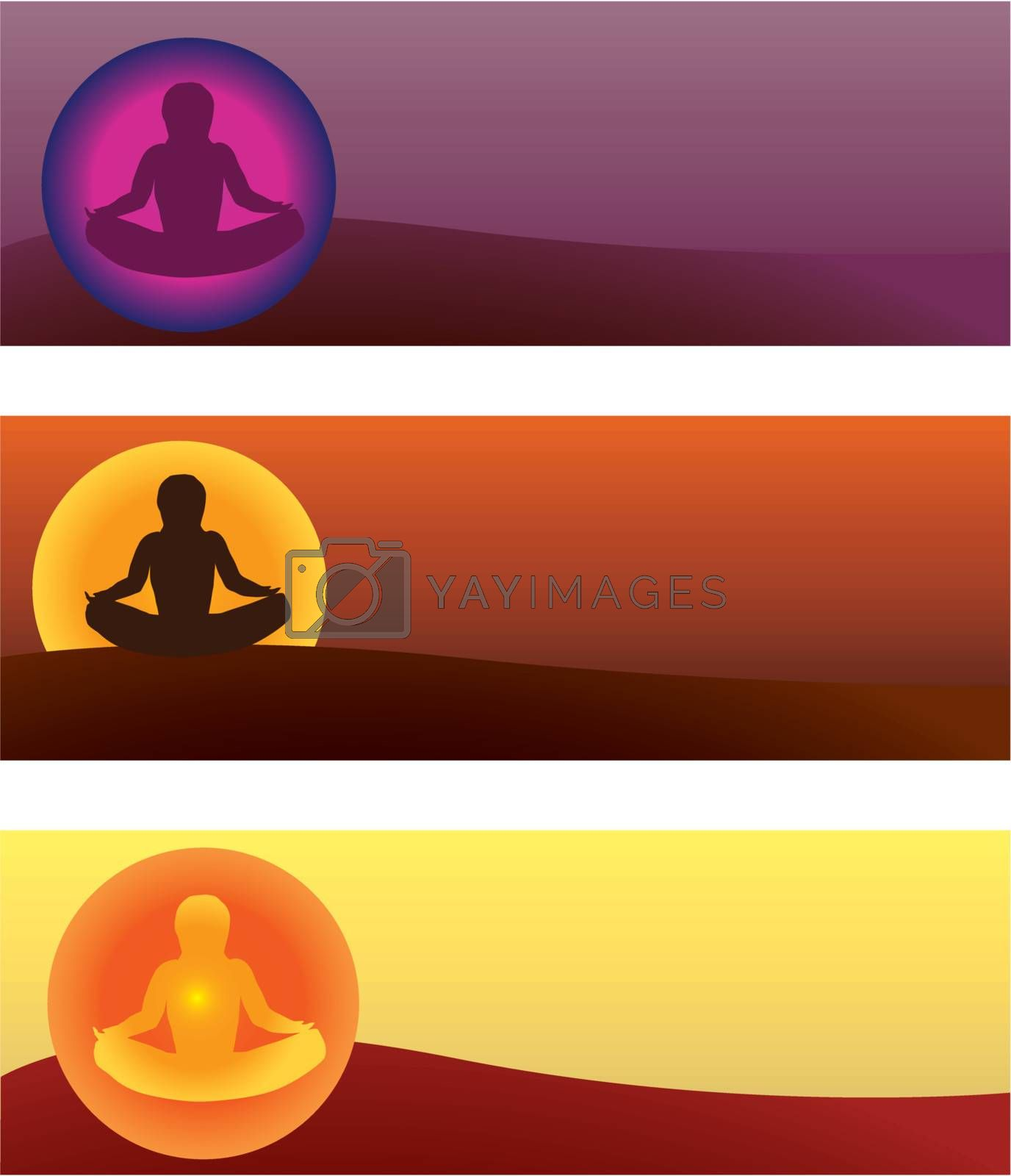 set of yoga banners vector illustrations