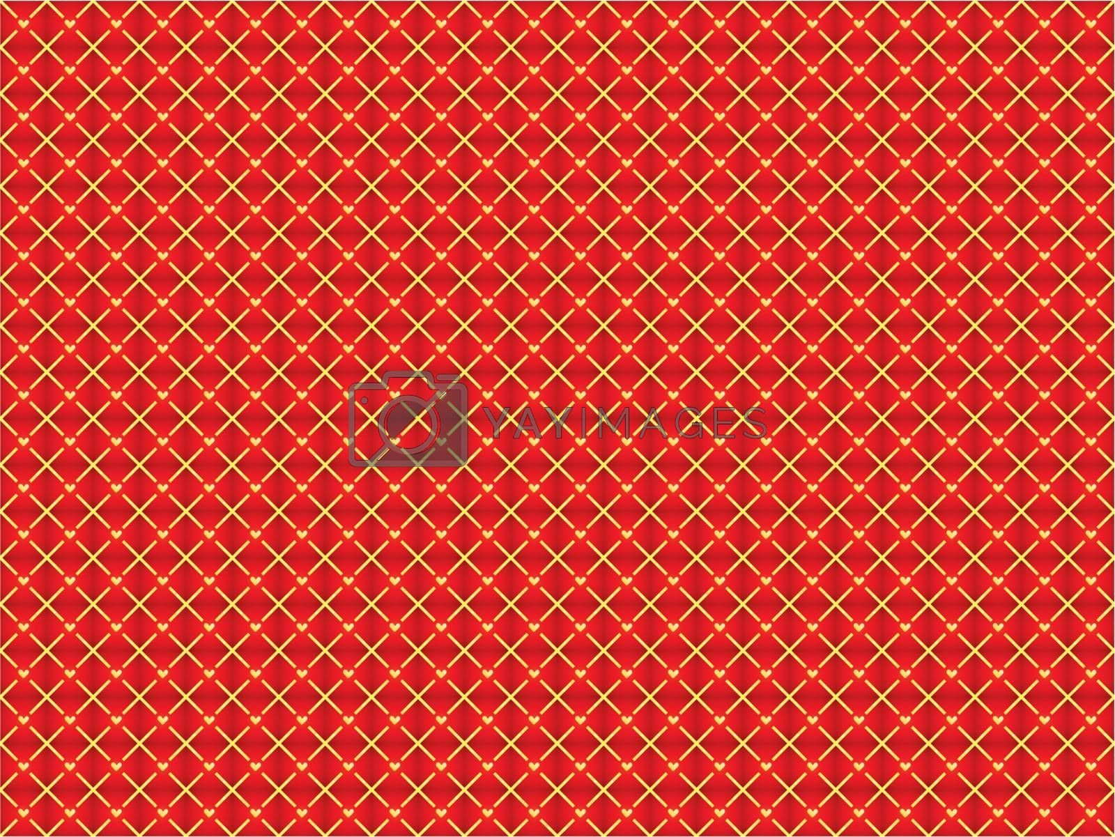red abstract seamless background with golden hearts