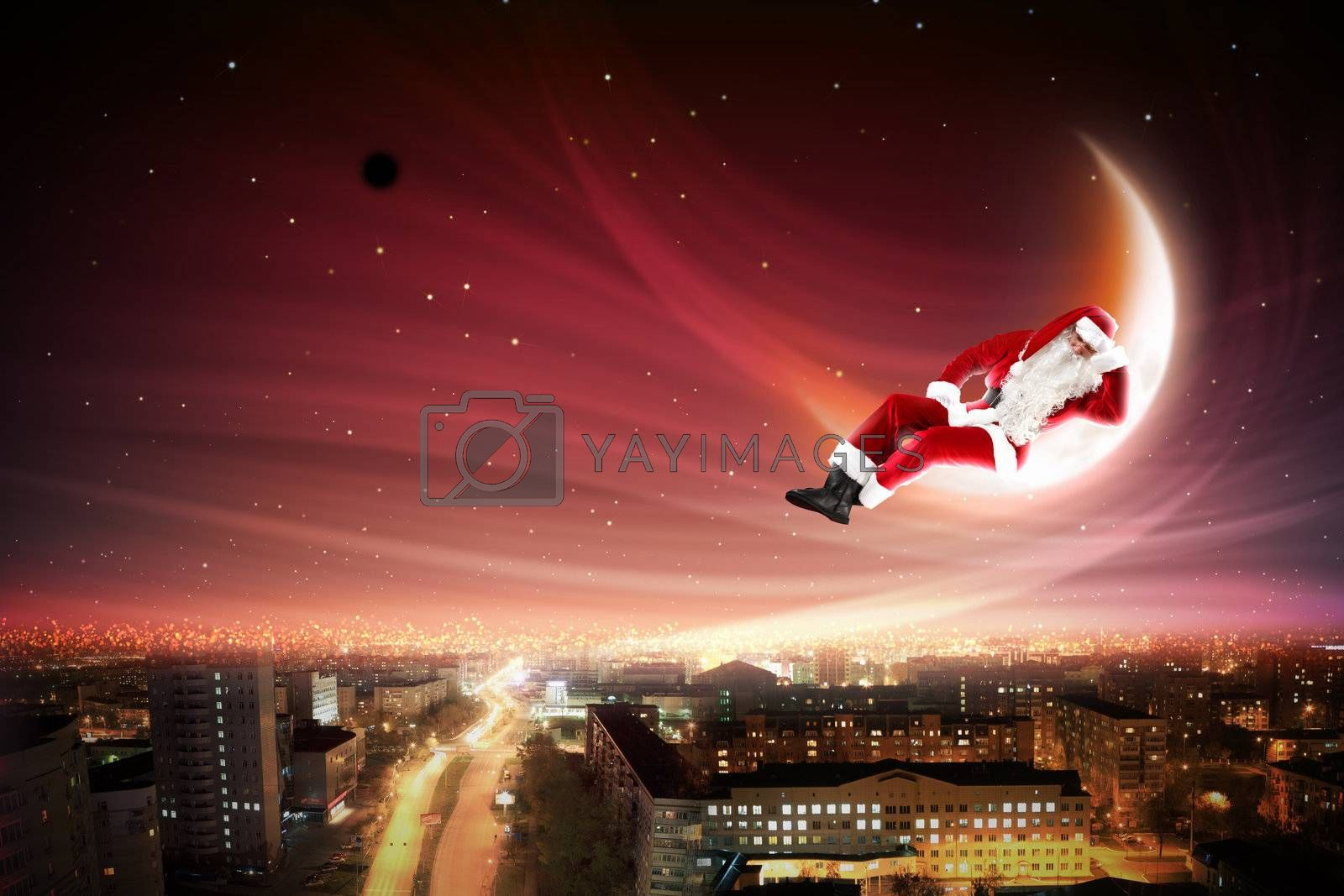 Santa on the moon by Sergey Nivens