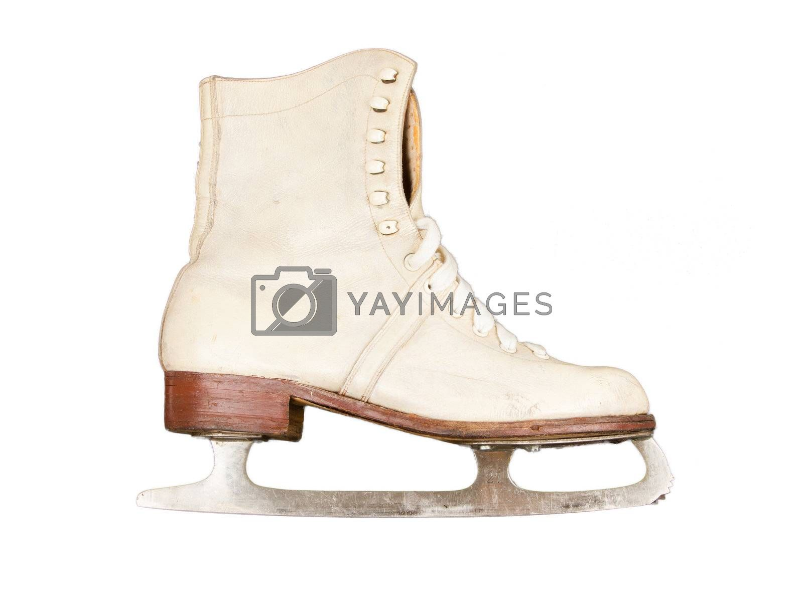 Very old figure skate, isolated on white background