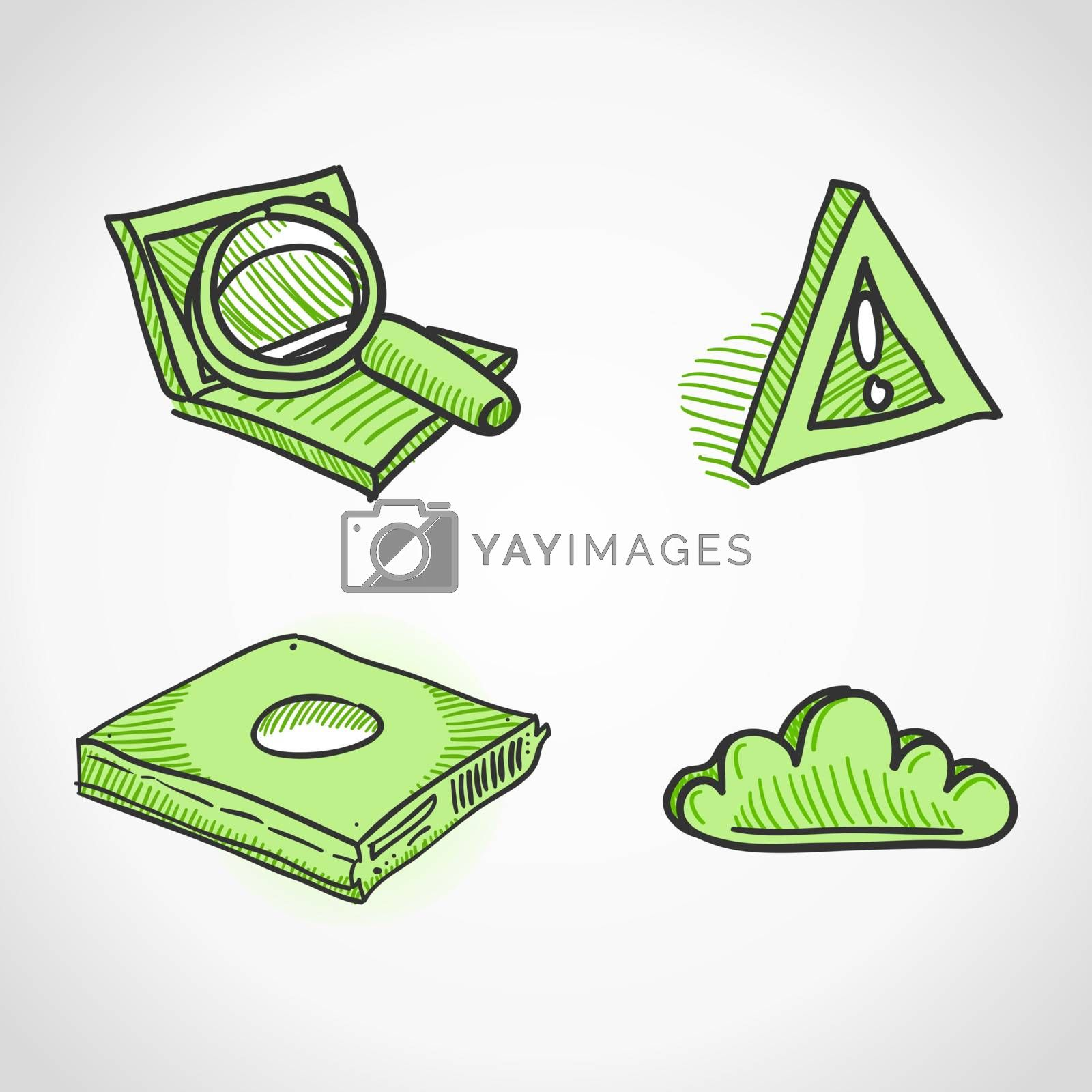 Handmade design elements in green colors isolated on white background