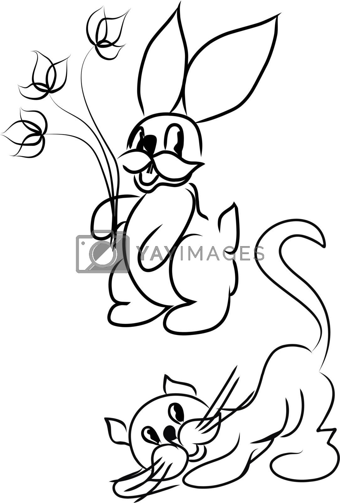 cartoon rabbit with cat in black and white