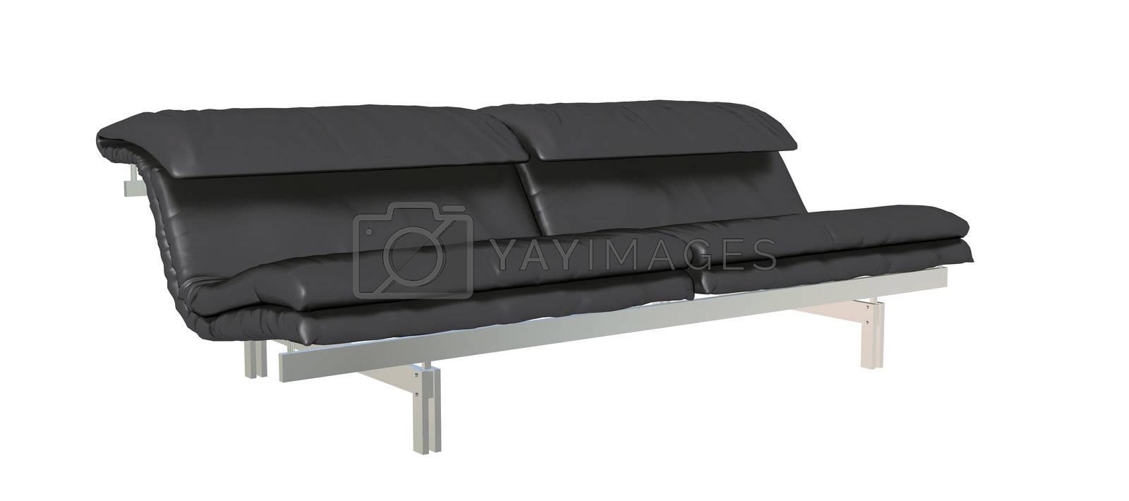 Leather sofa, black, metal frame, 3D illustration