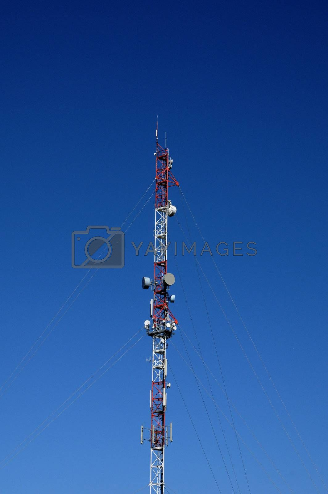 France, vertical picture of antennas on a pylon