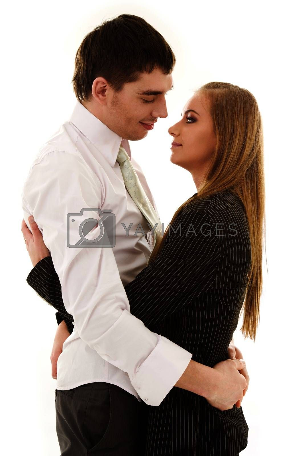 picture of happy couple in love over white