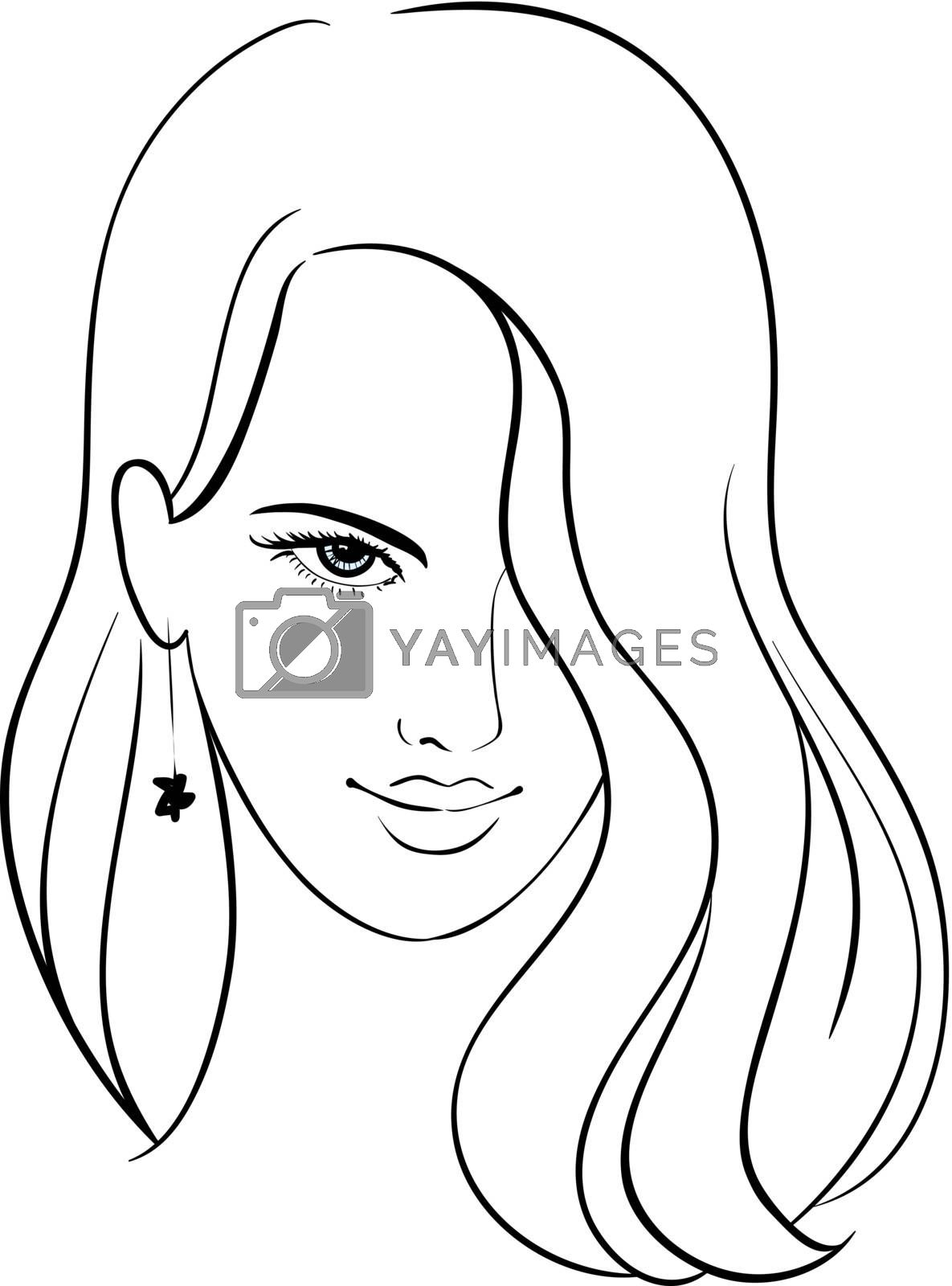 Girl Face with Beautiful Hair, Vector Sketch