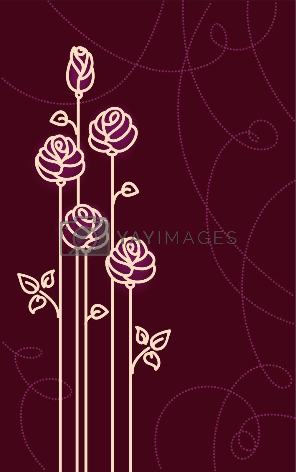 Card with Stylized Roses. Vector Graphic by ESSL