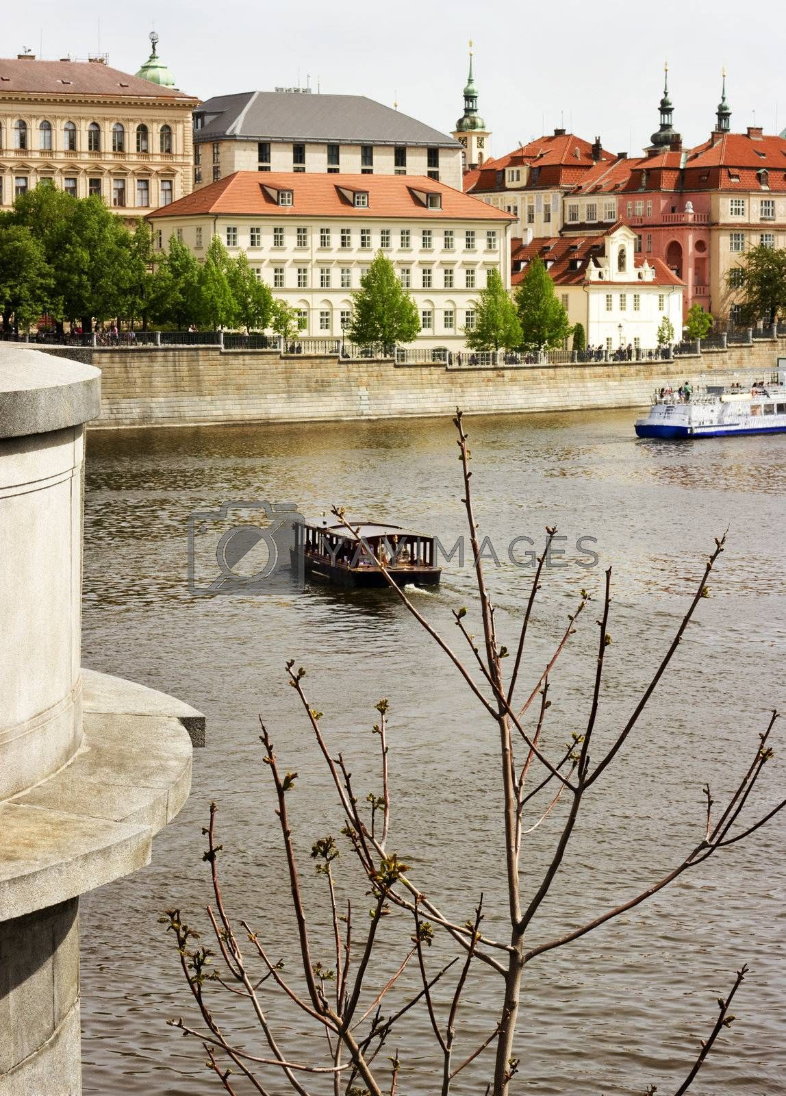 View of an Old town of Prague and the Vltava River. Czech Republic