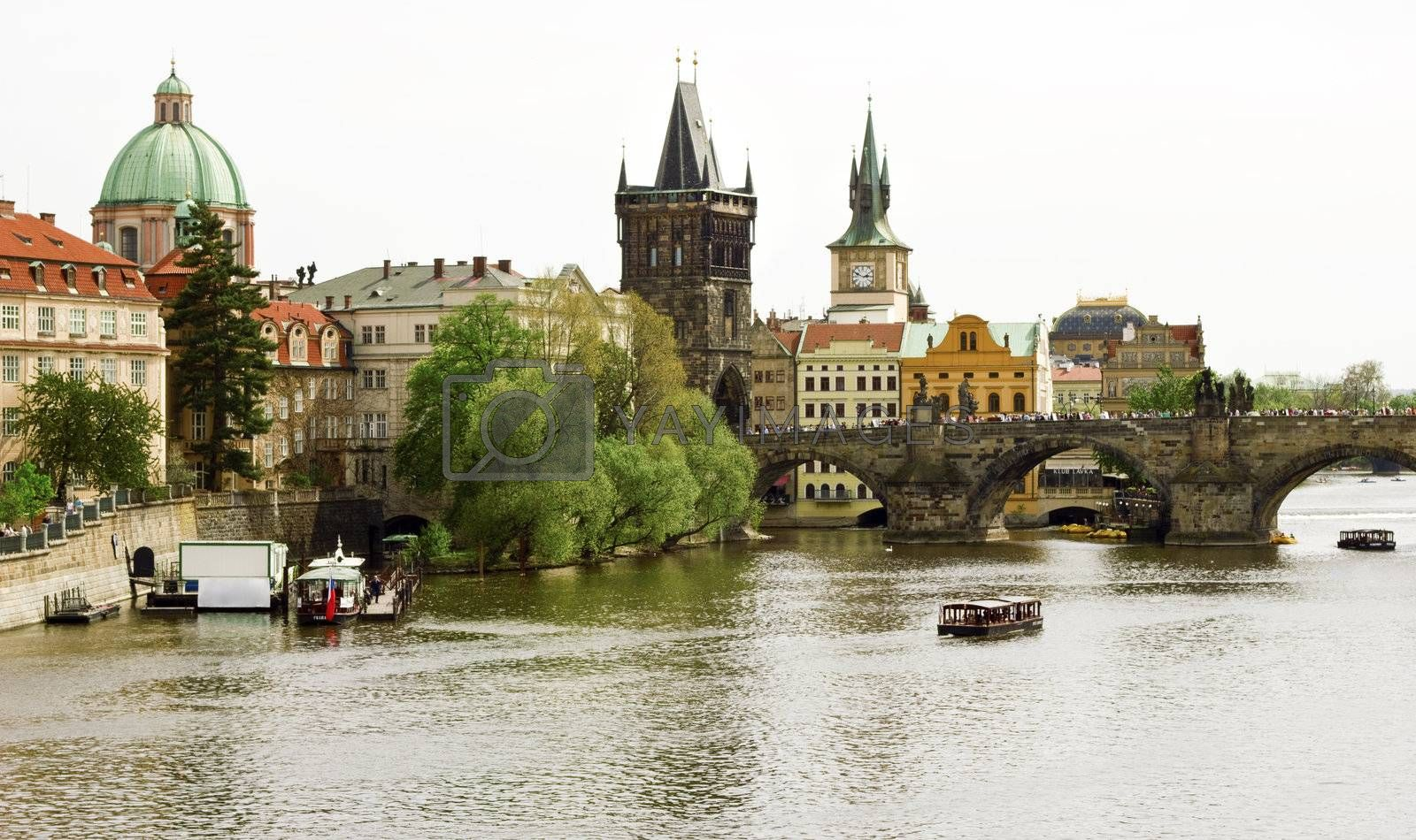 View of an Old town of Prague, the Charles Bridge and the Vltava River. Czech Republic