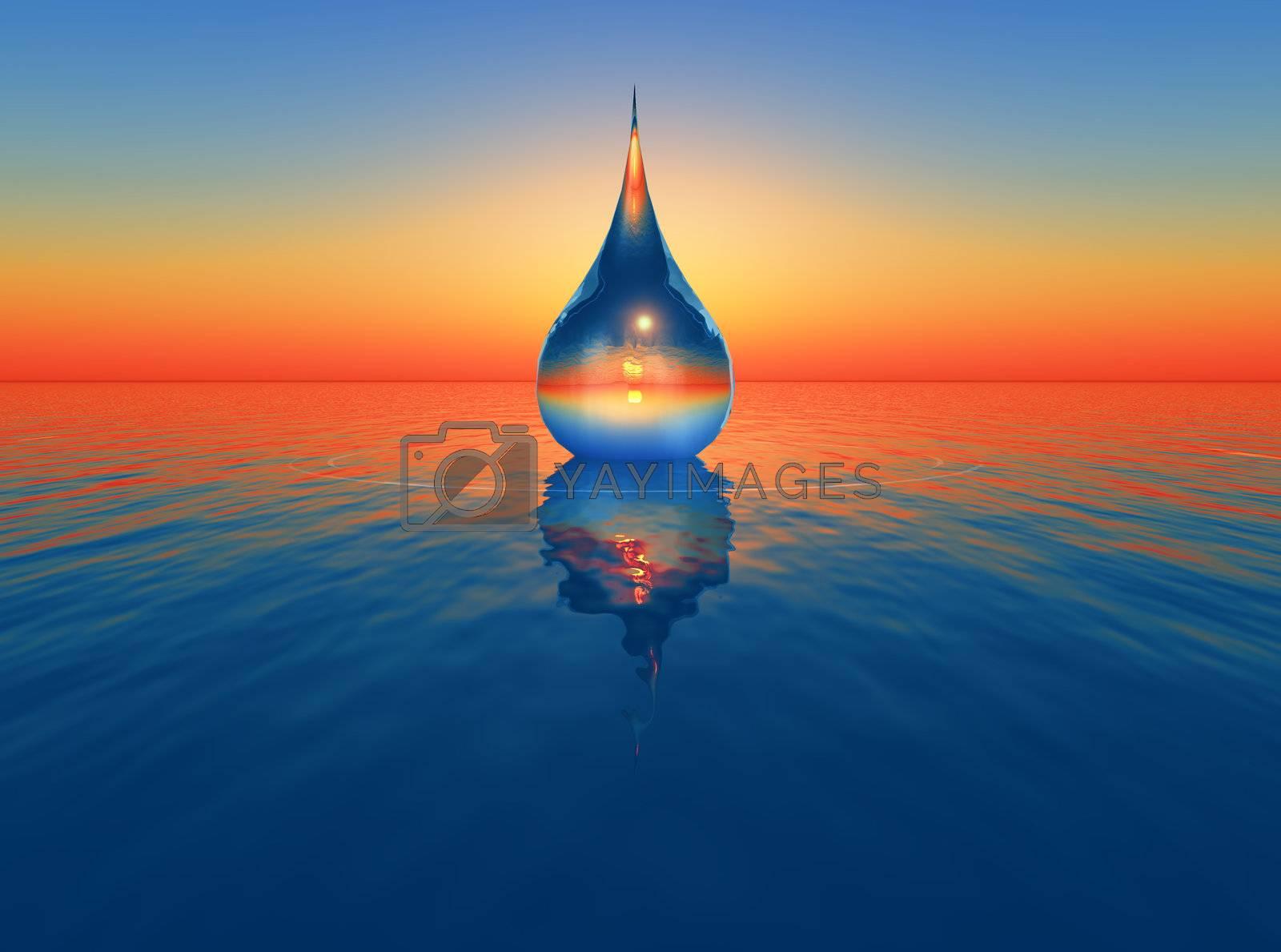 one drop of water falling in the sea