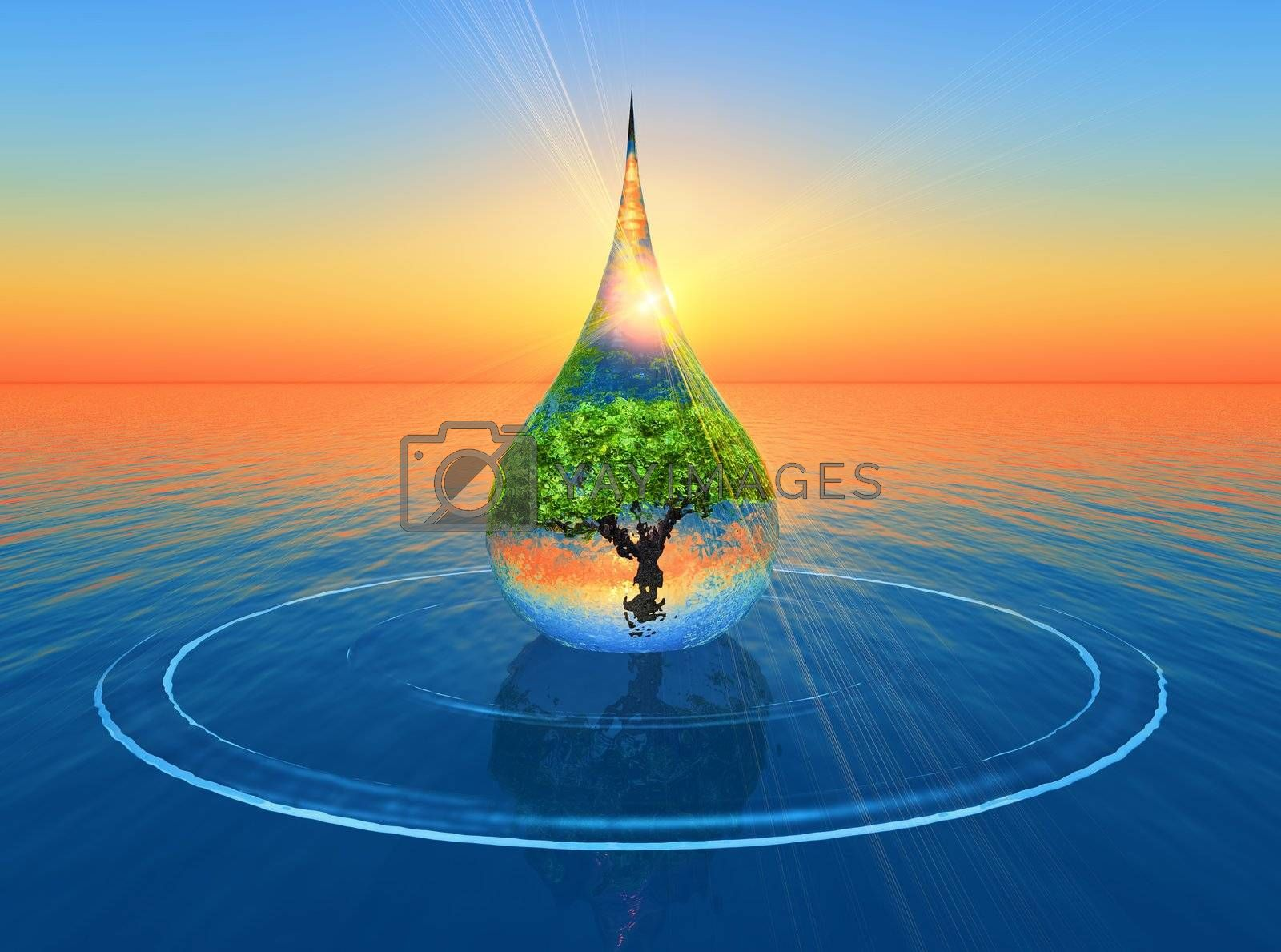 drop with a tree inside