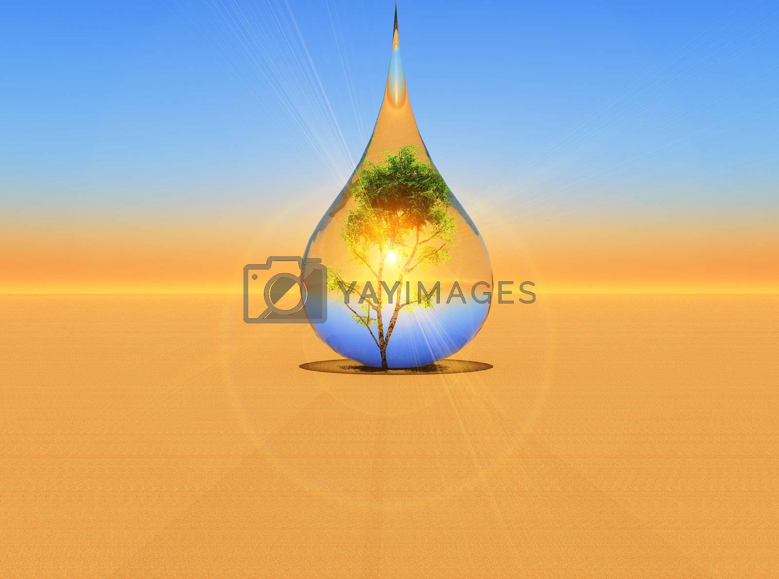 a tree inside a drop of rain