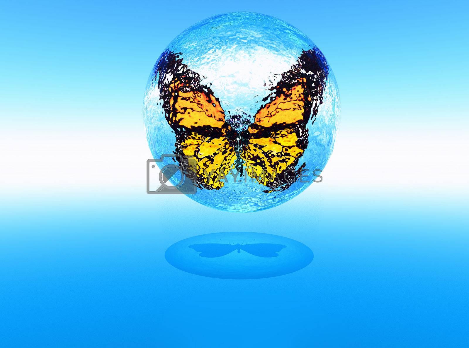 a butterfly inside a sphere of water in 3D modeling