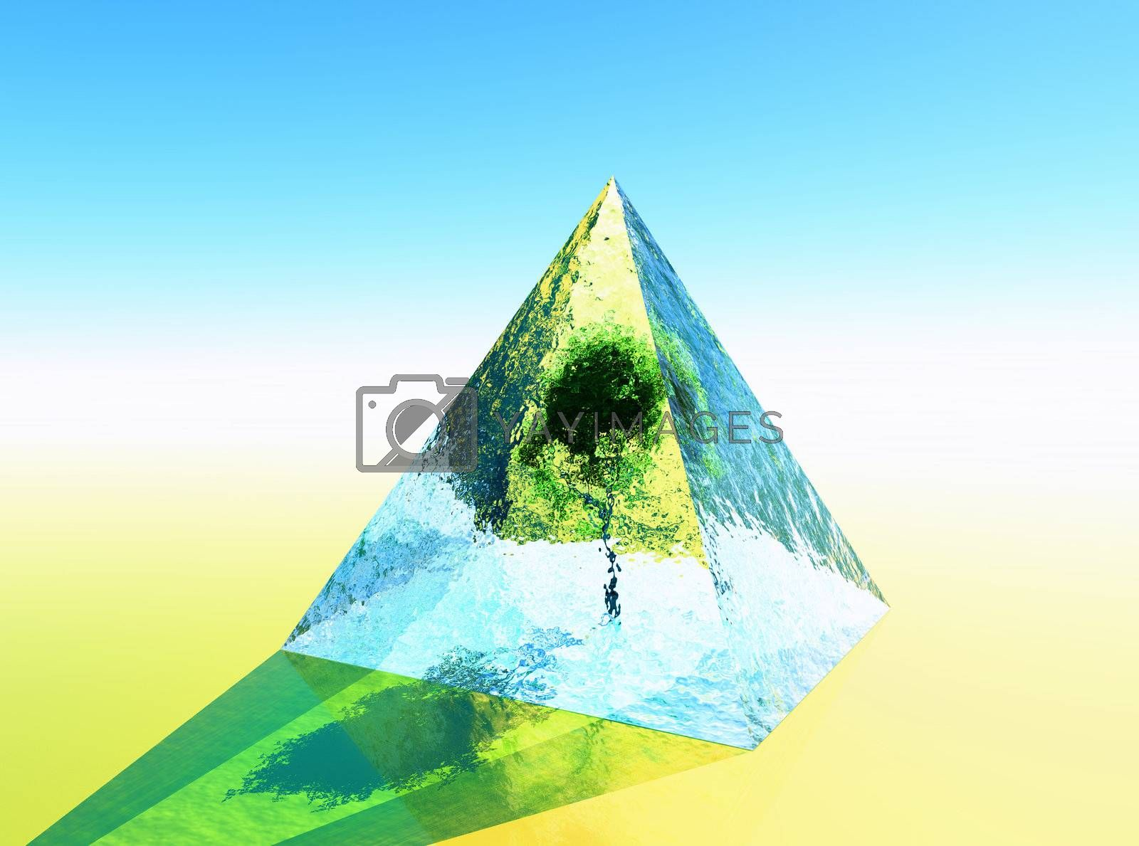 a pyramid in 3d modeling with a tree inside
