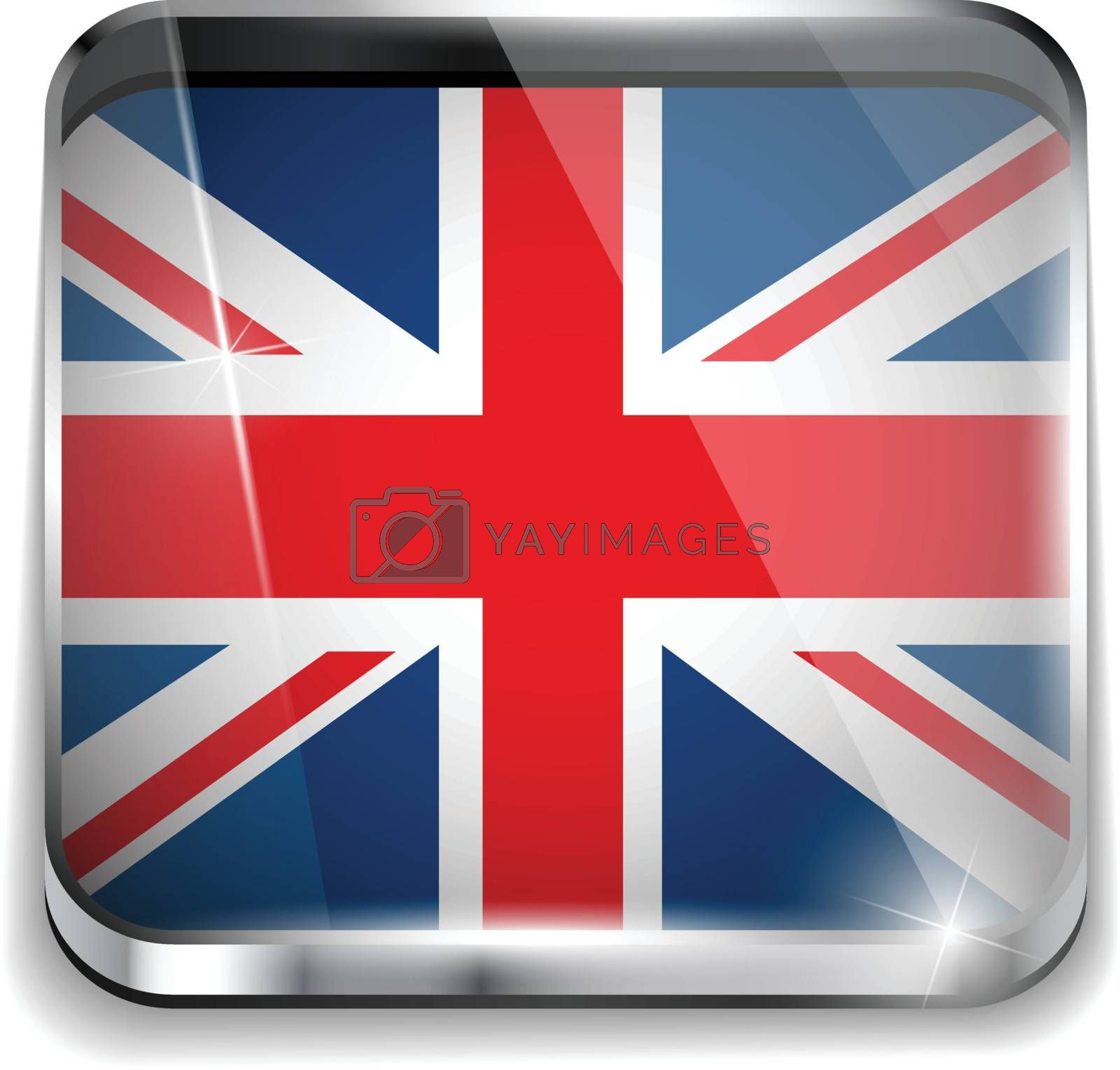 Vector - United Kingdom England Flag Smartphone Application Square Buttons