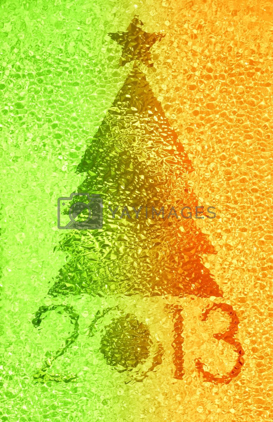 Closeup shot of Christmas tree crystal background